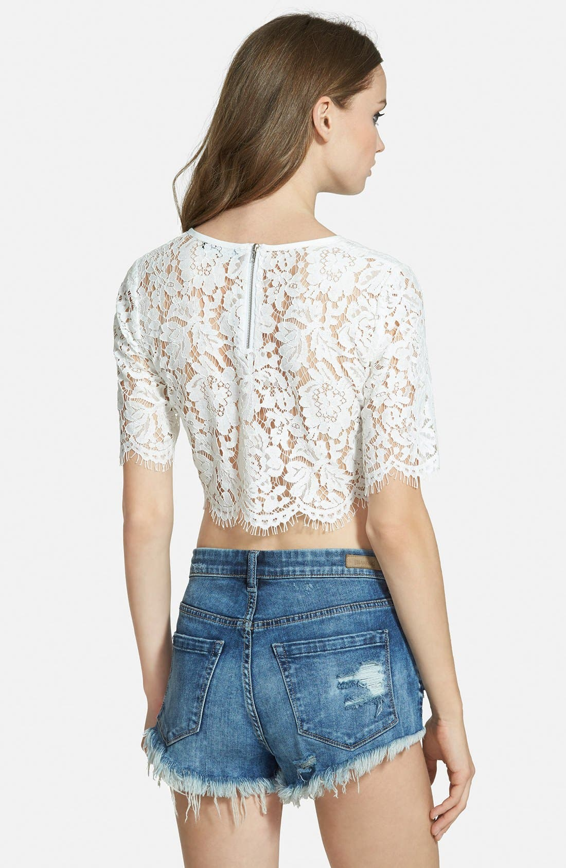 Scalloped Lace Crop Top,                             Alternate thumbnail 3, color,                             100