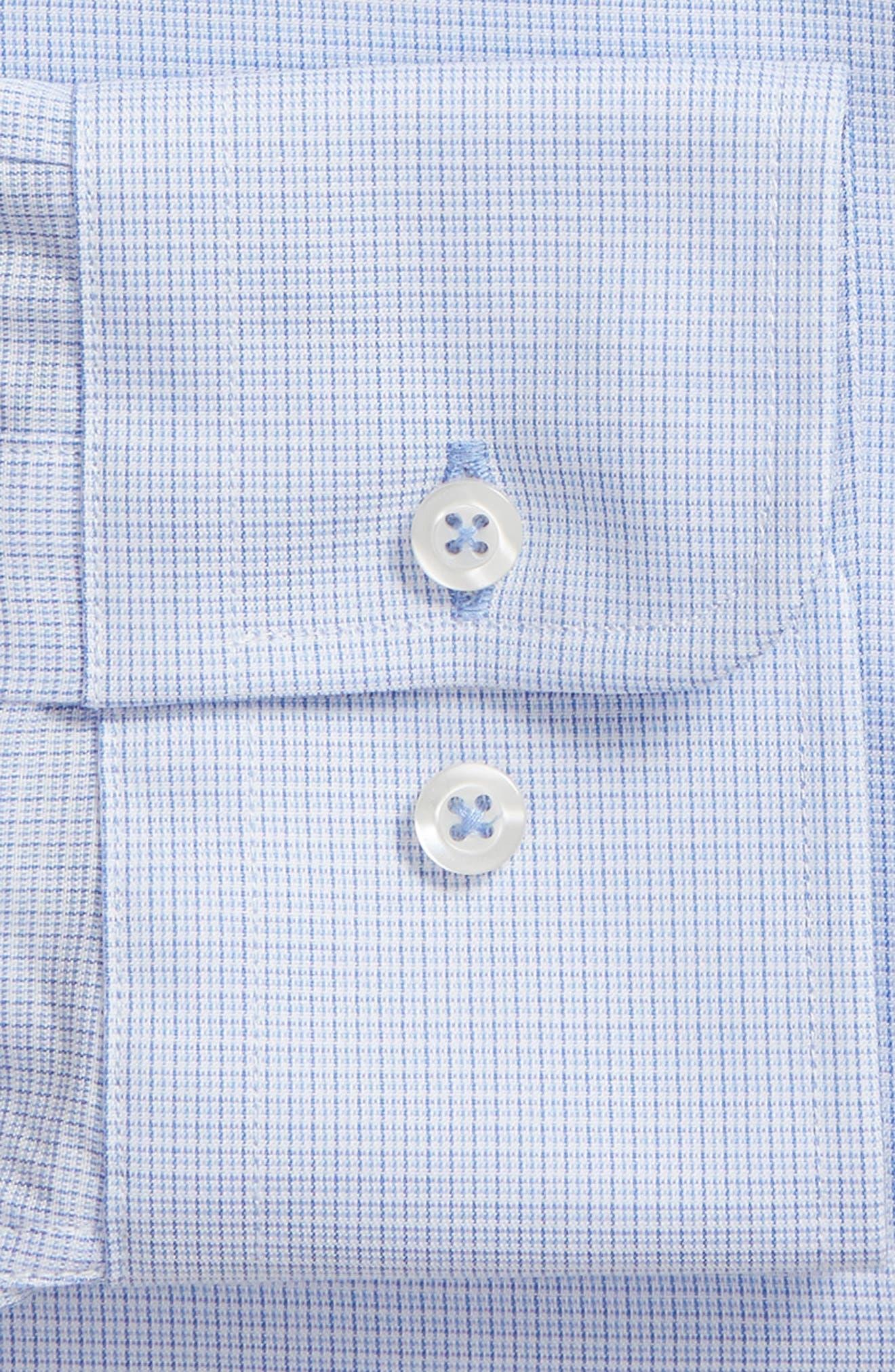 Slim Fit Micro Pattern Dress Shirt,                             Alternate thumbnail 6, color,                             BLUE