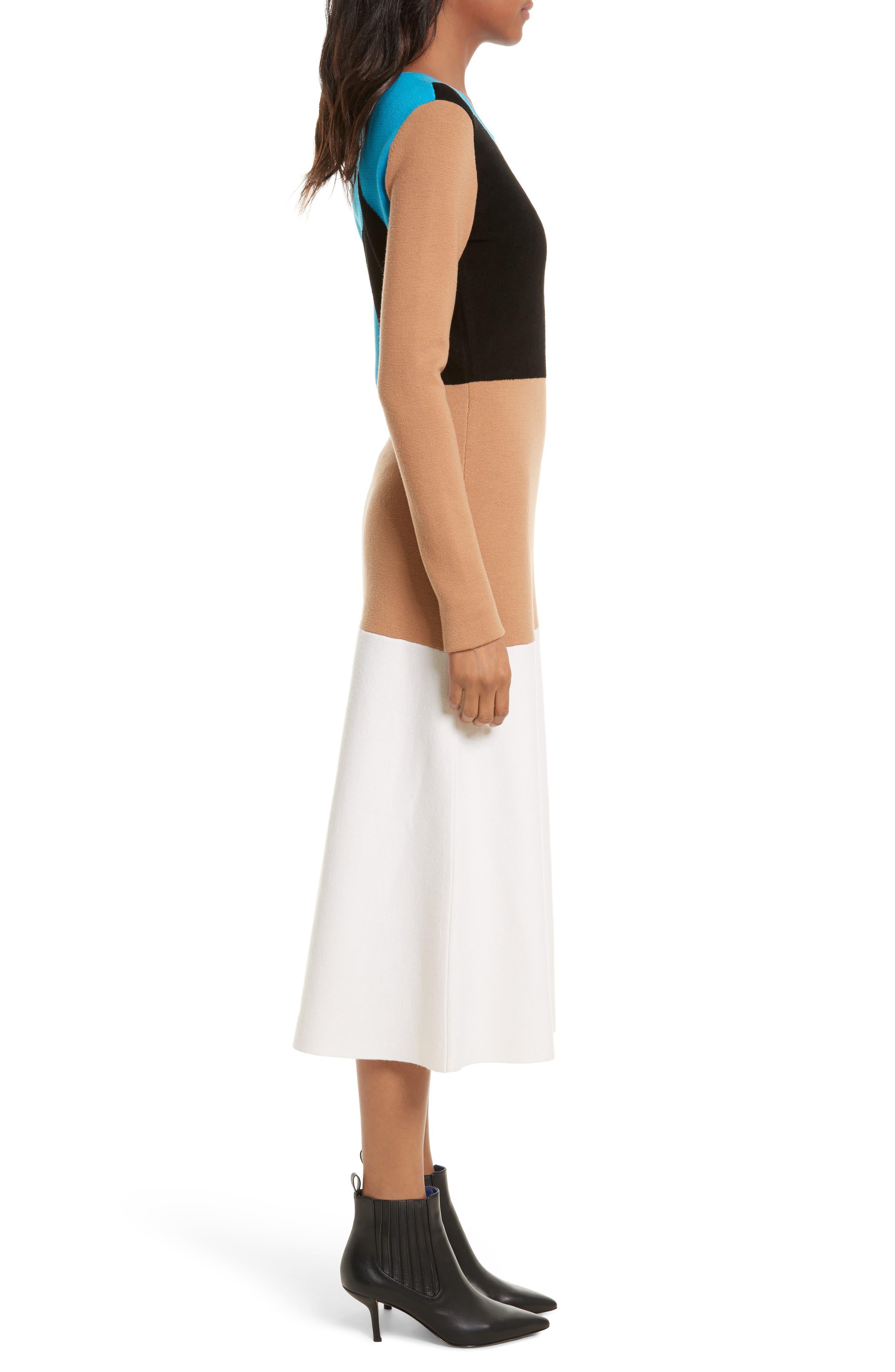 Crewneck Flare Knit Dress,                             Alternate thumbnail 3, color,                             252