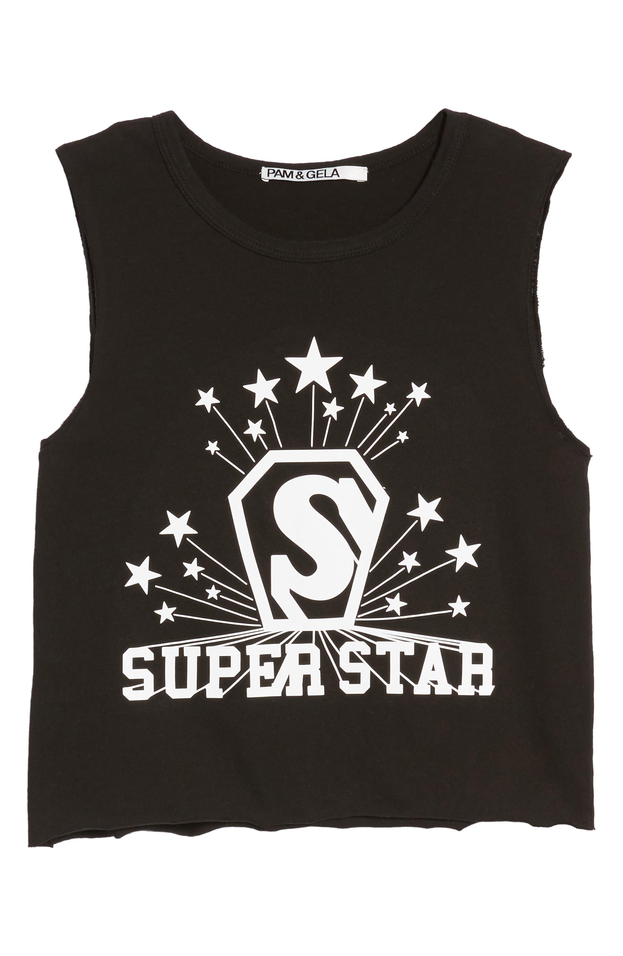 Superstar Shrunken Muscle Tee,                             Alternate thumbnail 6, color,                             001