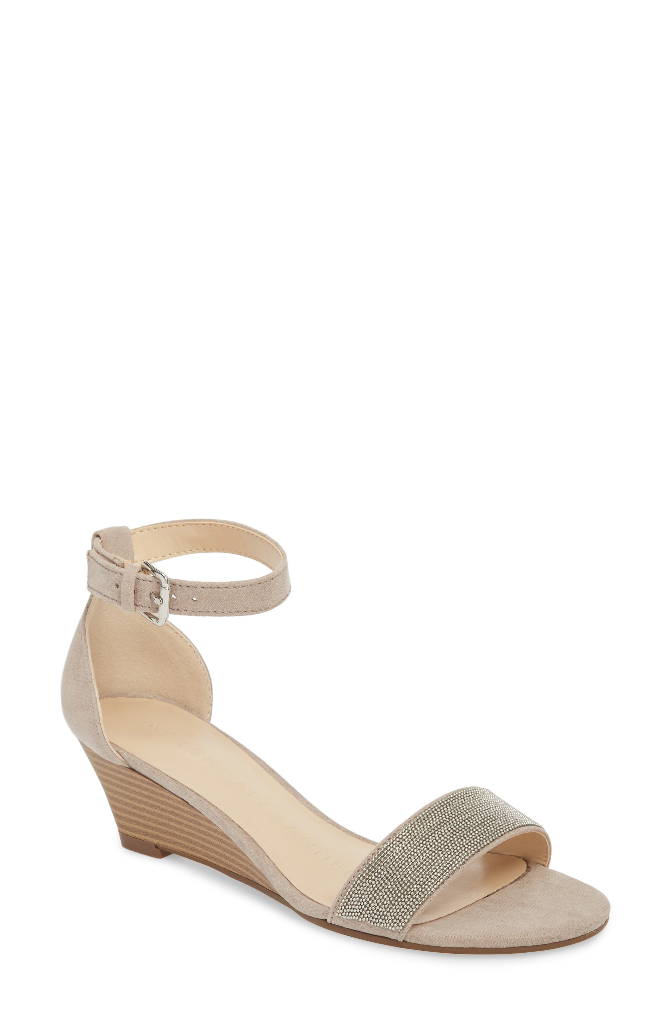 Enfield Ankle Strap Wedge Sandal,                             Main thumbnail 1, color,                             TAUPE SUEDE