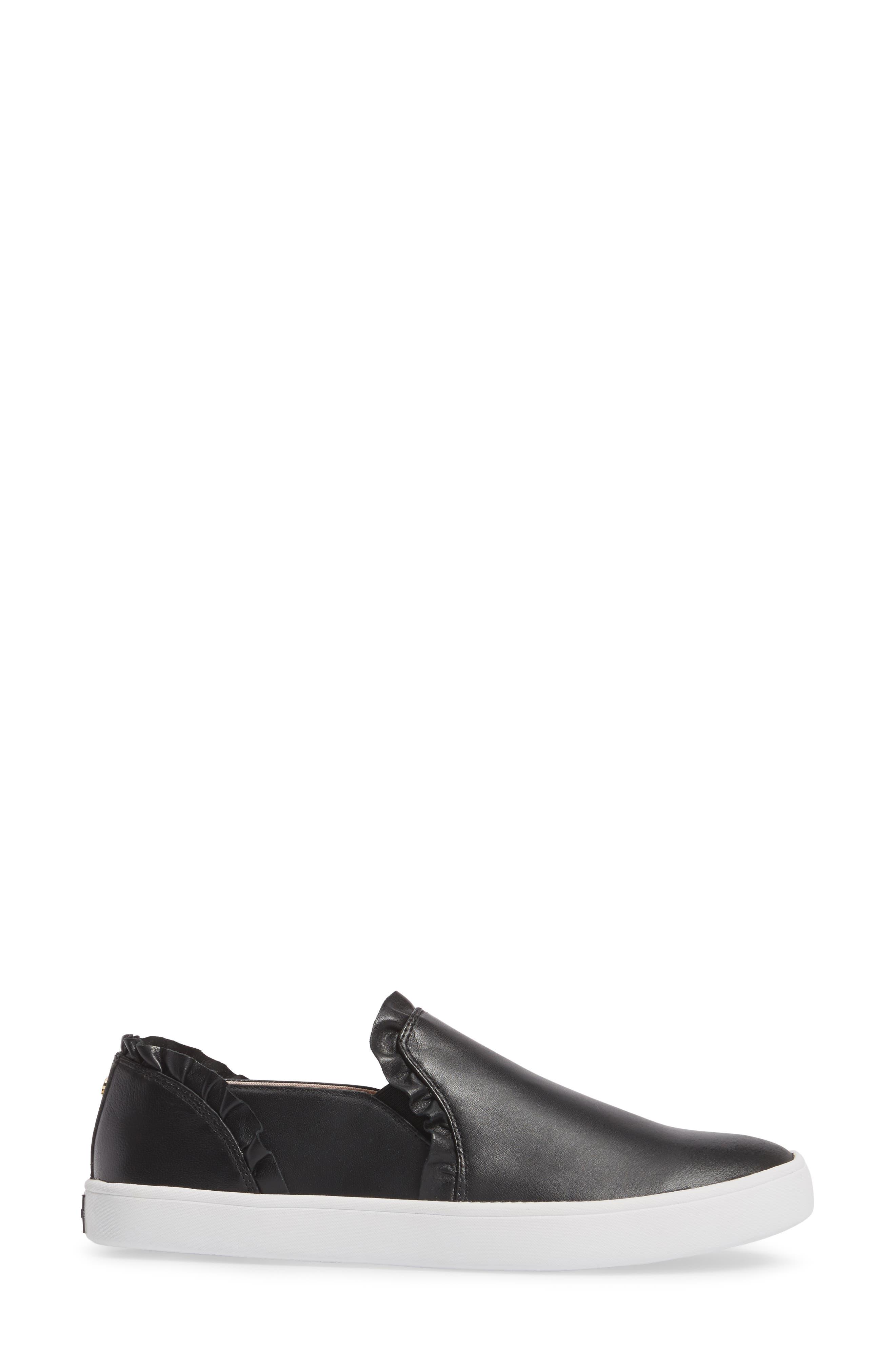 lilly ruffle slip-on sneaker,                             Alternate thumbnail 3, color,                             BLACK NAPPA