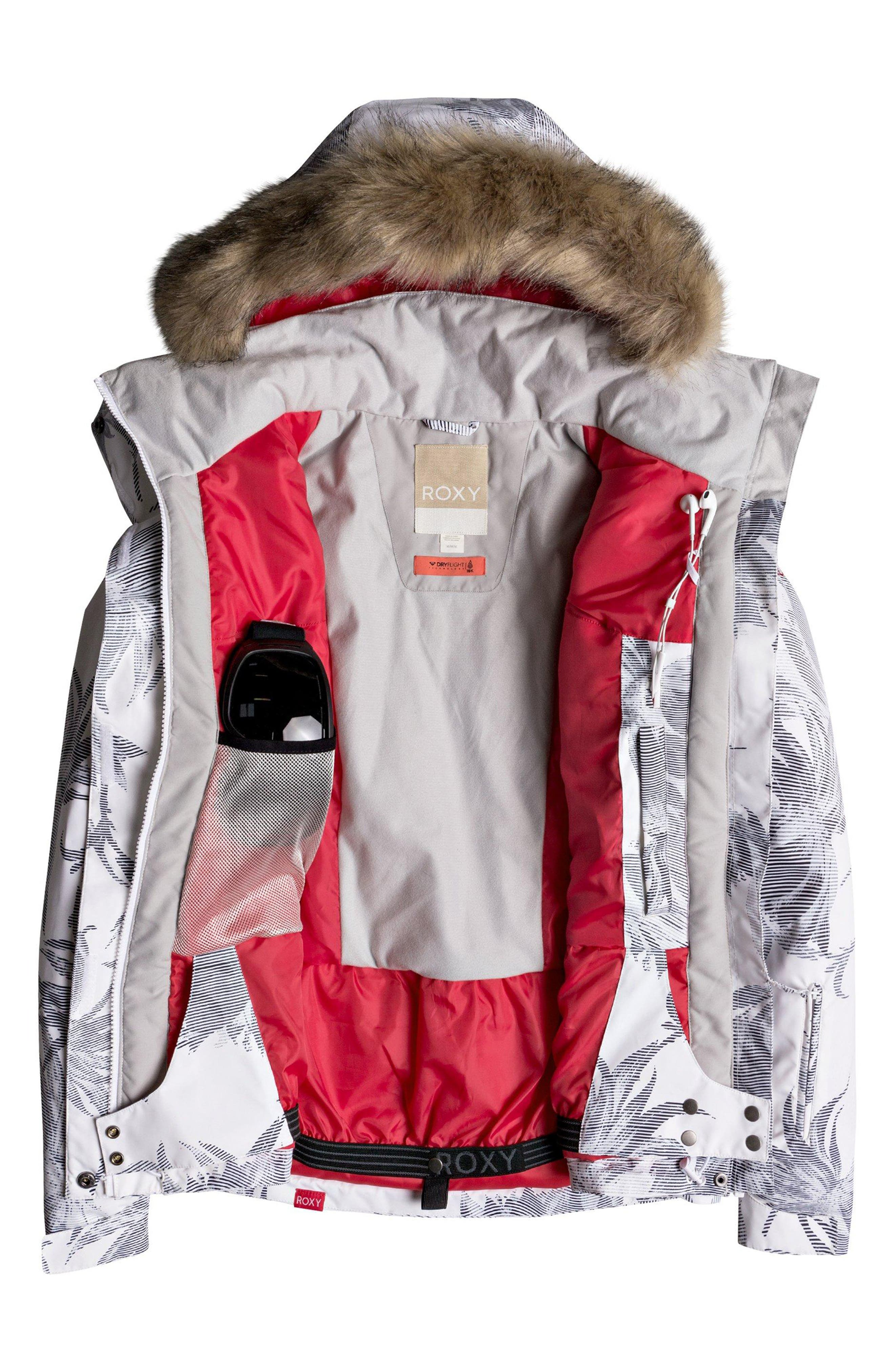 Jet Ski Slim Fit Waterproof WarmFlight<sup>®</sup> Insulated Snow Jacket with Faux Fur Trim,                             Alternate thumbnail 3, color,                             BRIGHT WHITE/ SWELL FLOWERS
