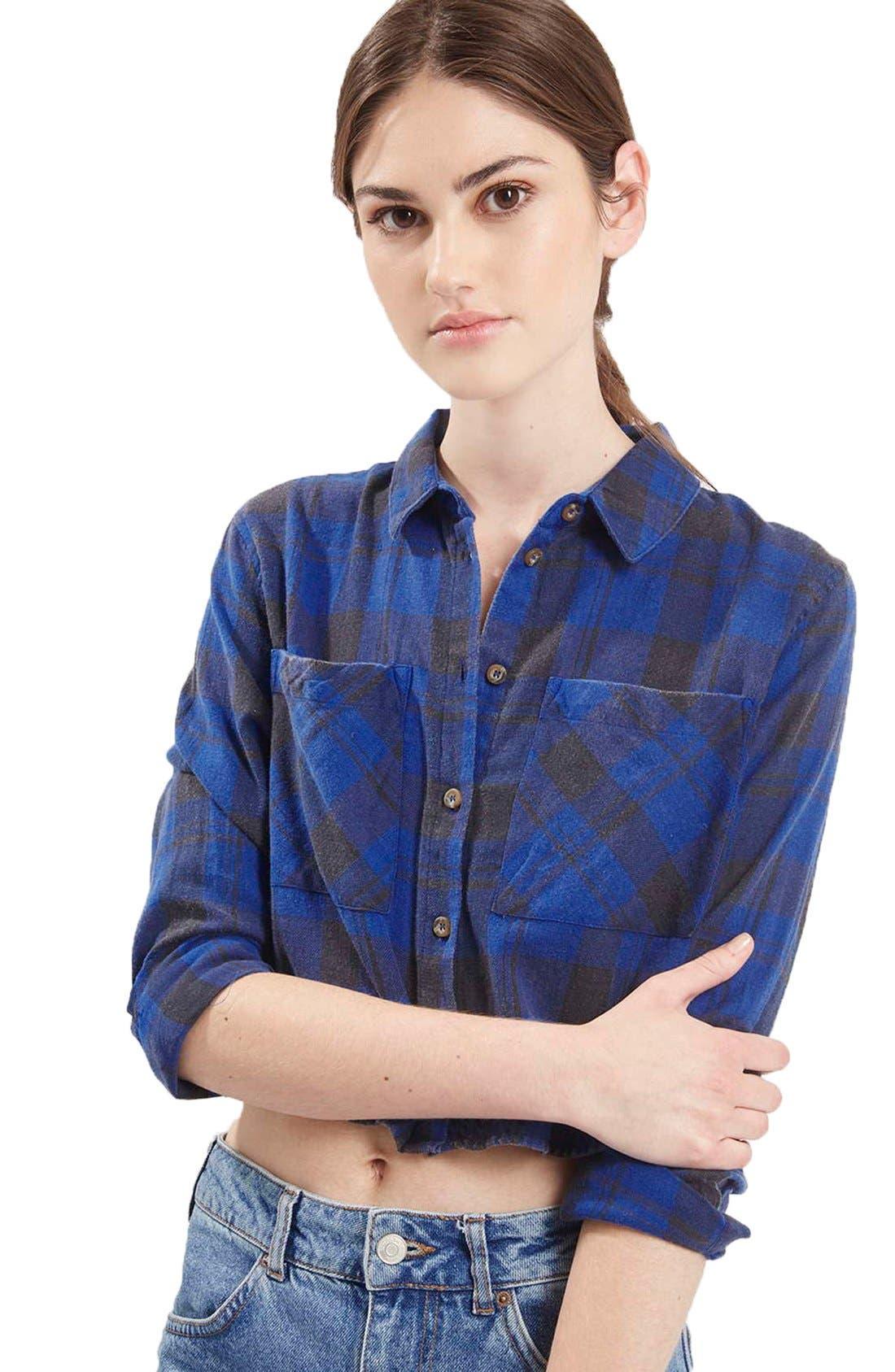 'Chloe' Crop Plaid Shirt,                             Alternate thumbnail 3, color,                             400
