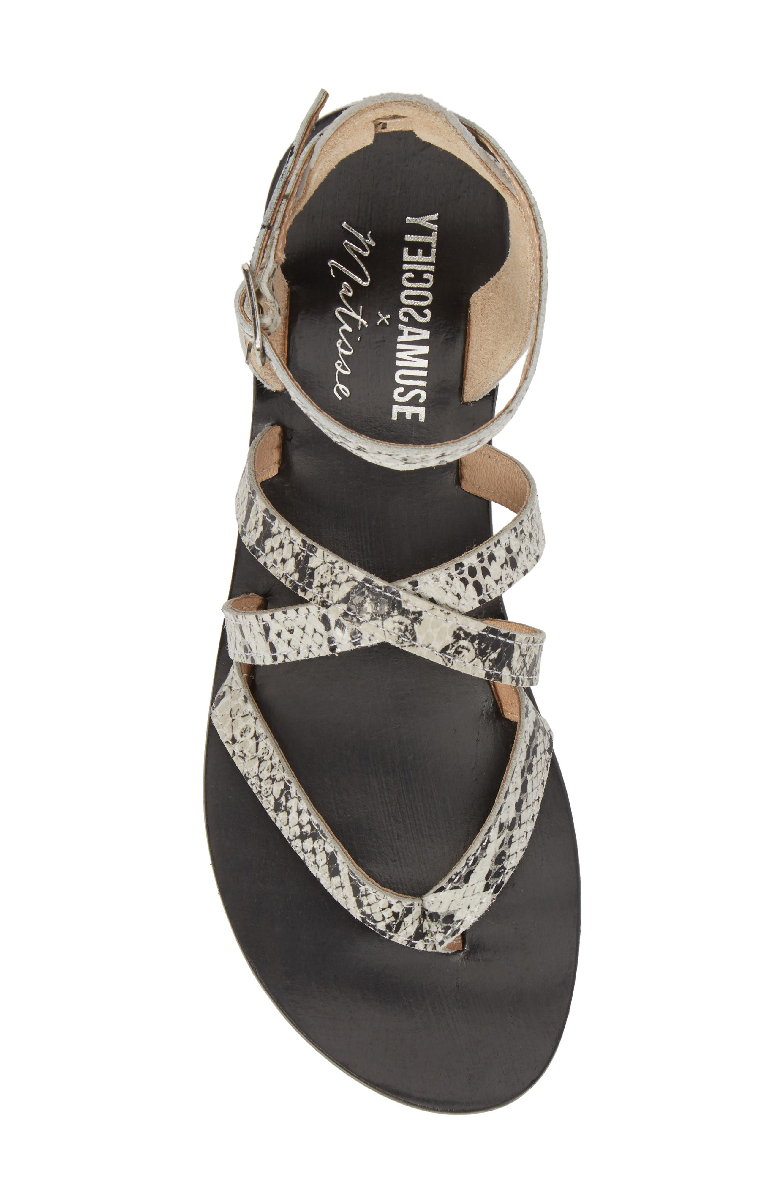 Strappy Sandal,                             Alternate thumbnail 5, color,                             BLACK SNAKE LEATHER