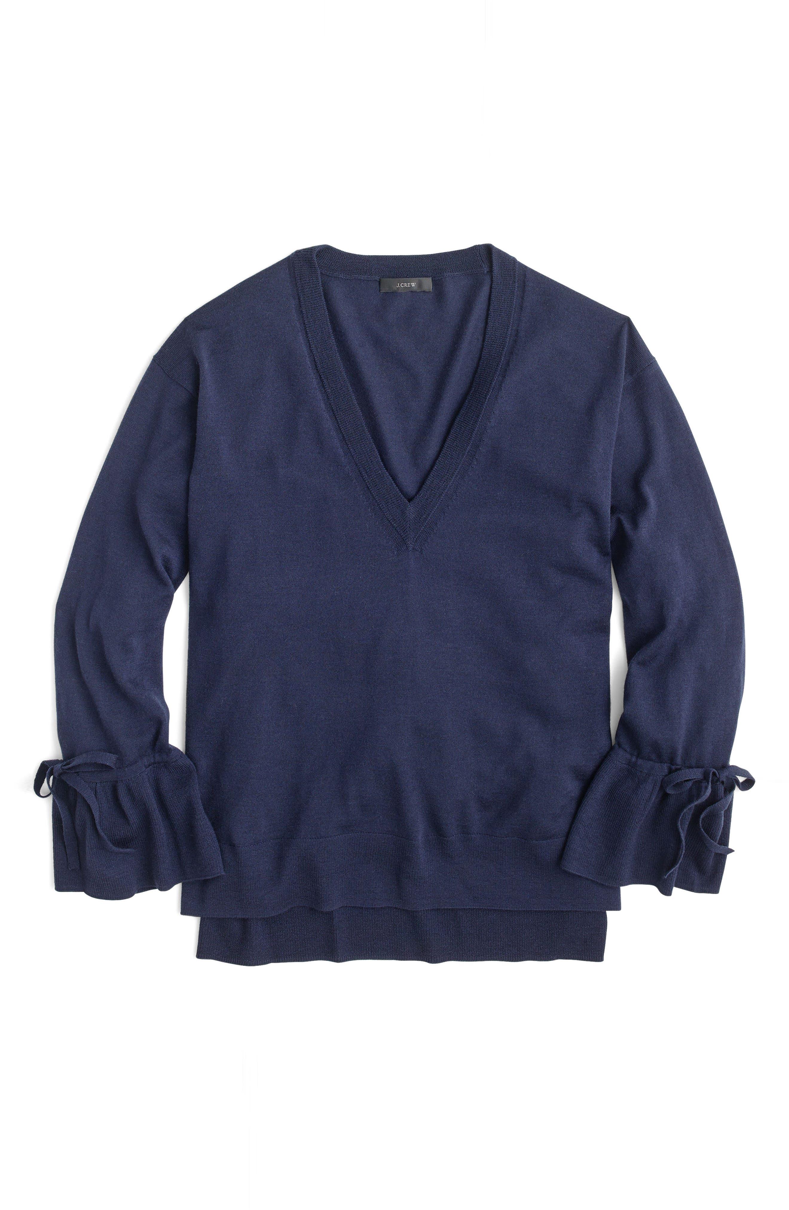 Drawstring Sleeve V-Neck Merino Wool Sweater,                             Alternate thumbnail 3, color,                             400