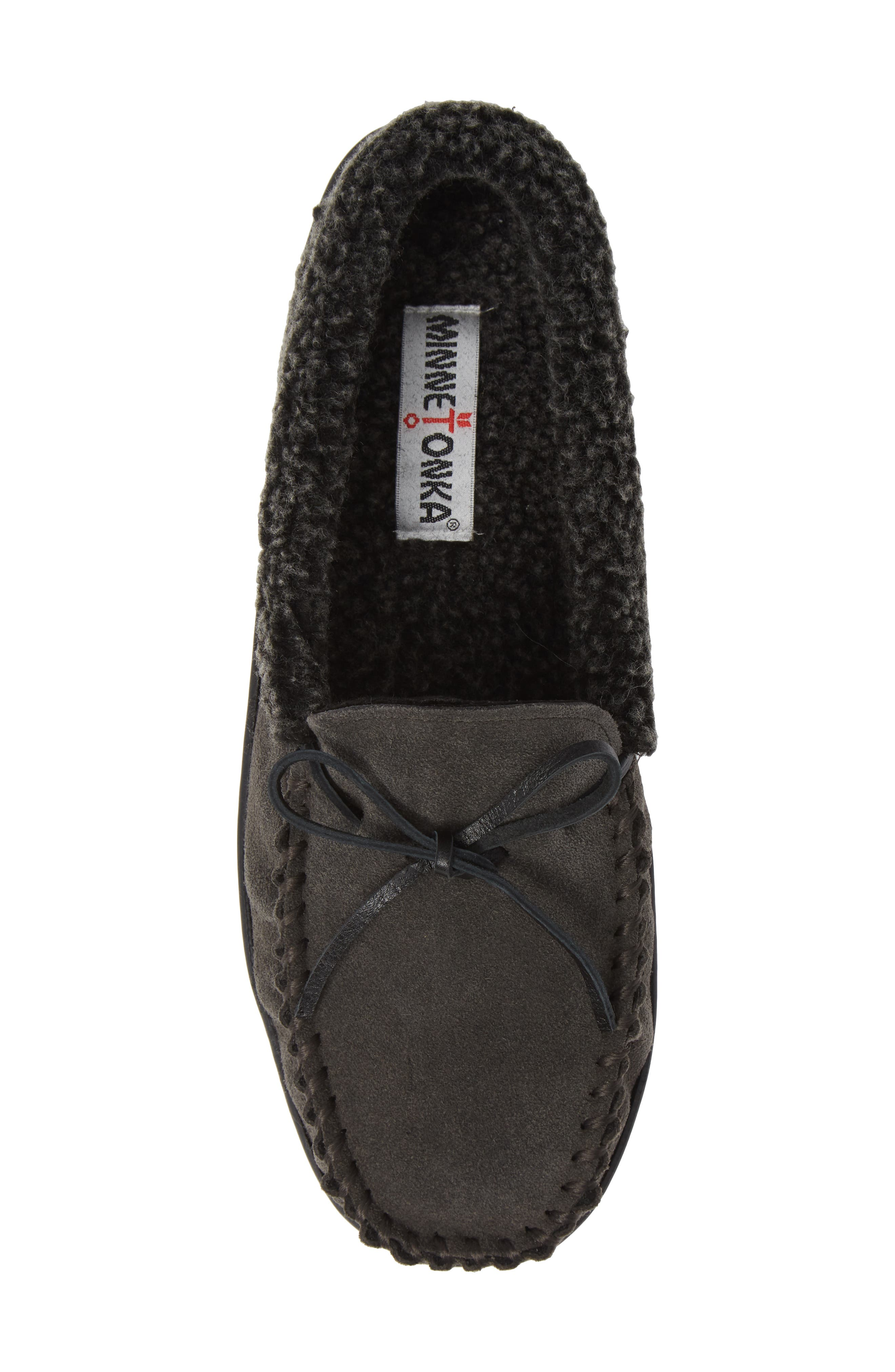 Allen Moccasin Slipper,                             Alternate thumbnail 5, color,                             CHARCOAL SUEDE