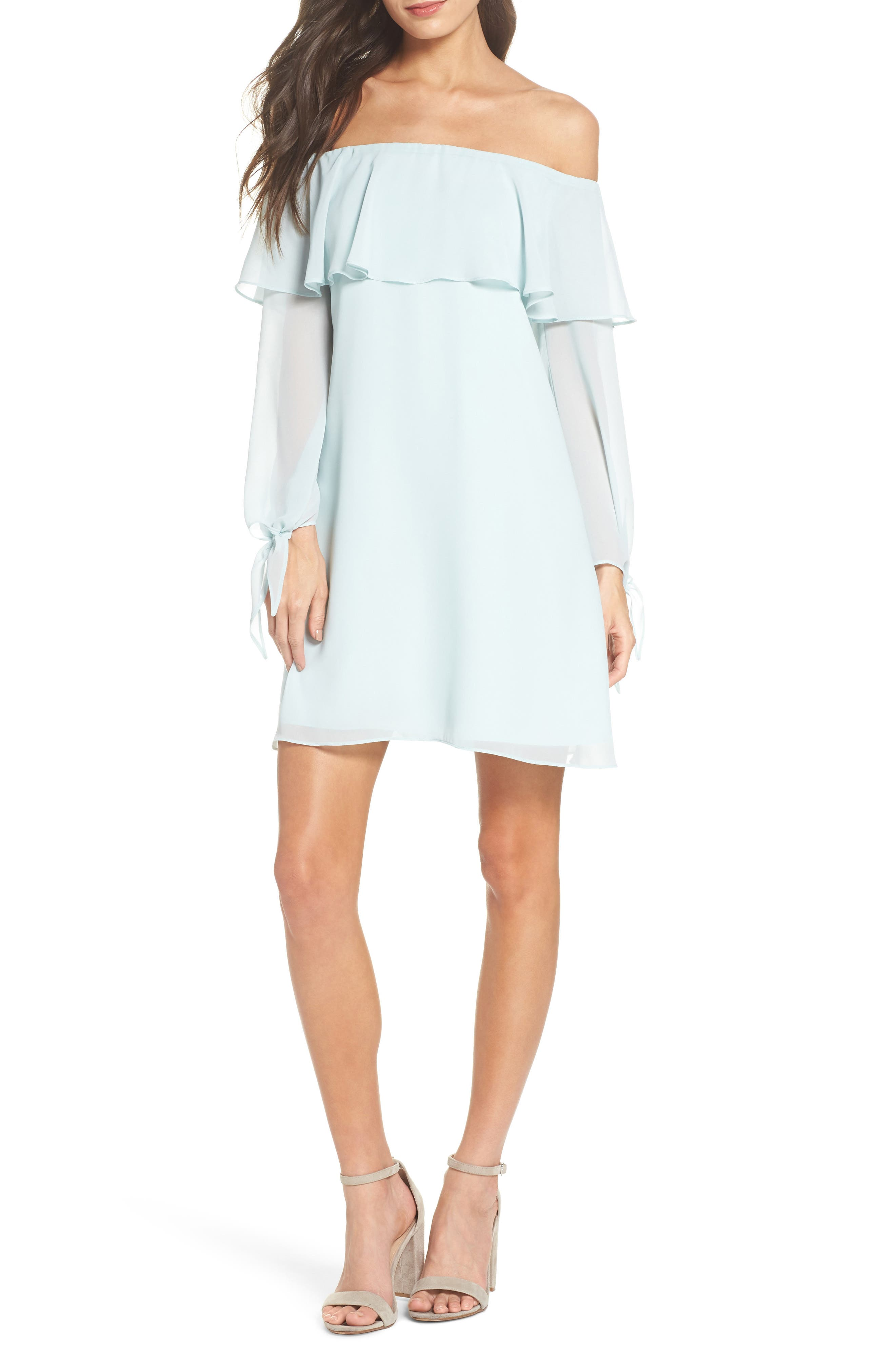 Off the Shoulder Tie-Cuff Shift Dress,                         Main,                         color, COOL MINT