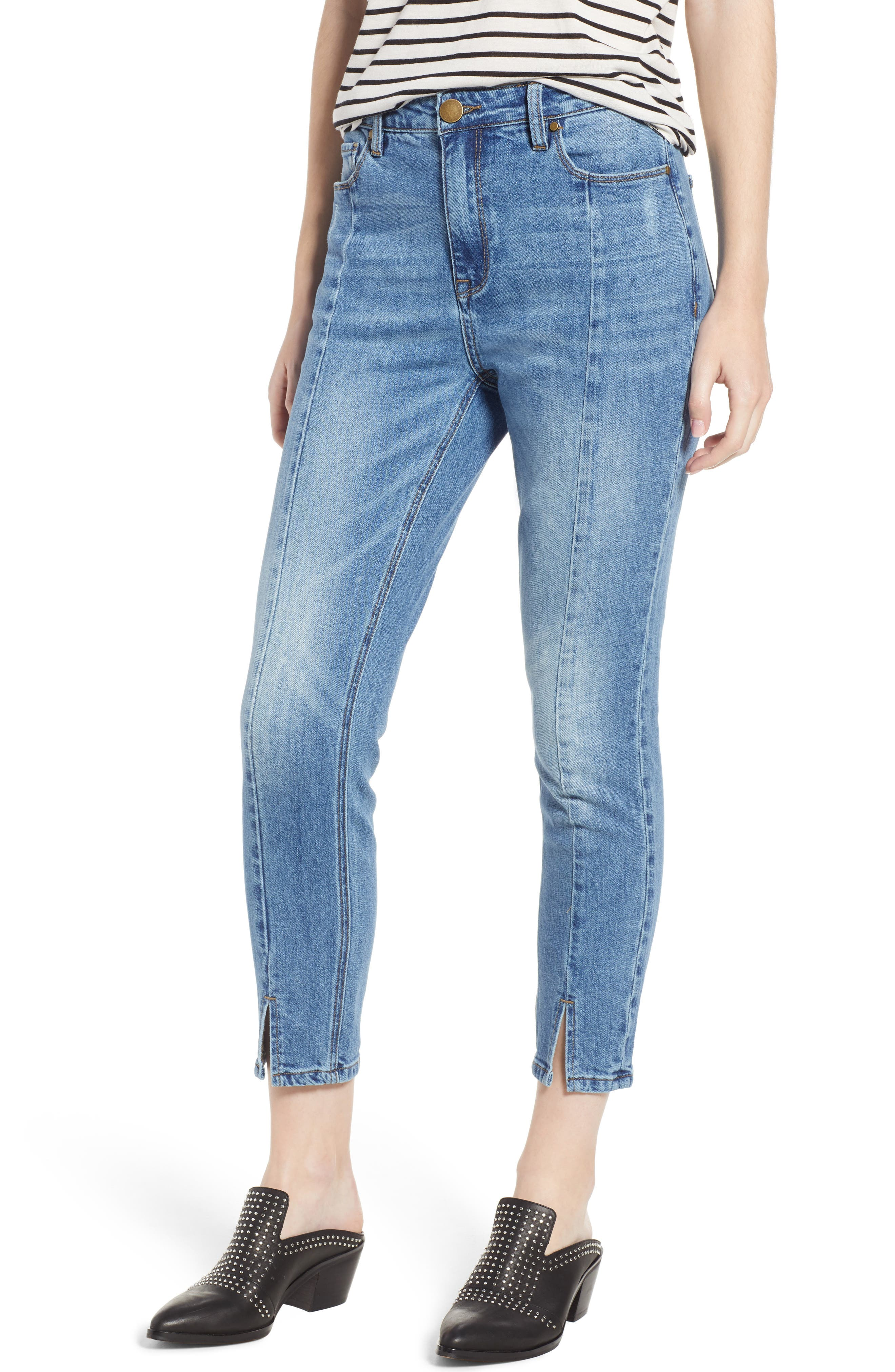 High Waist Ankle Slit Skinny Jeans,                             Main thumbnail 1, color,