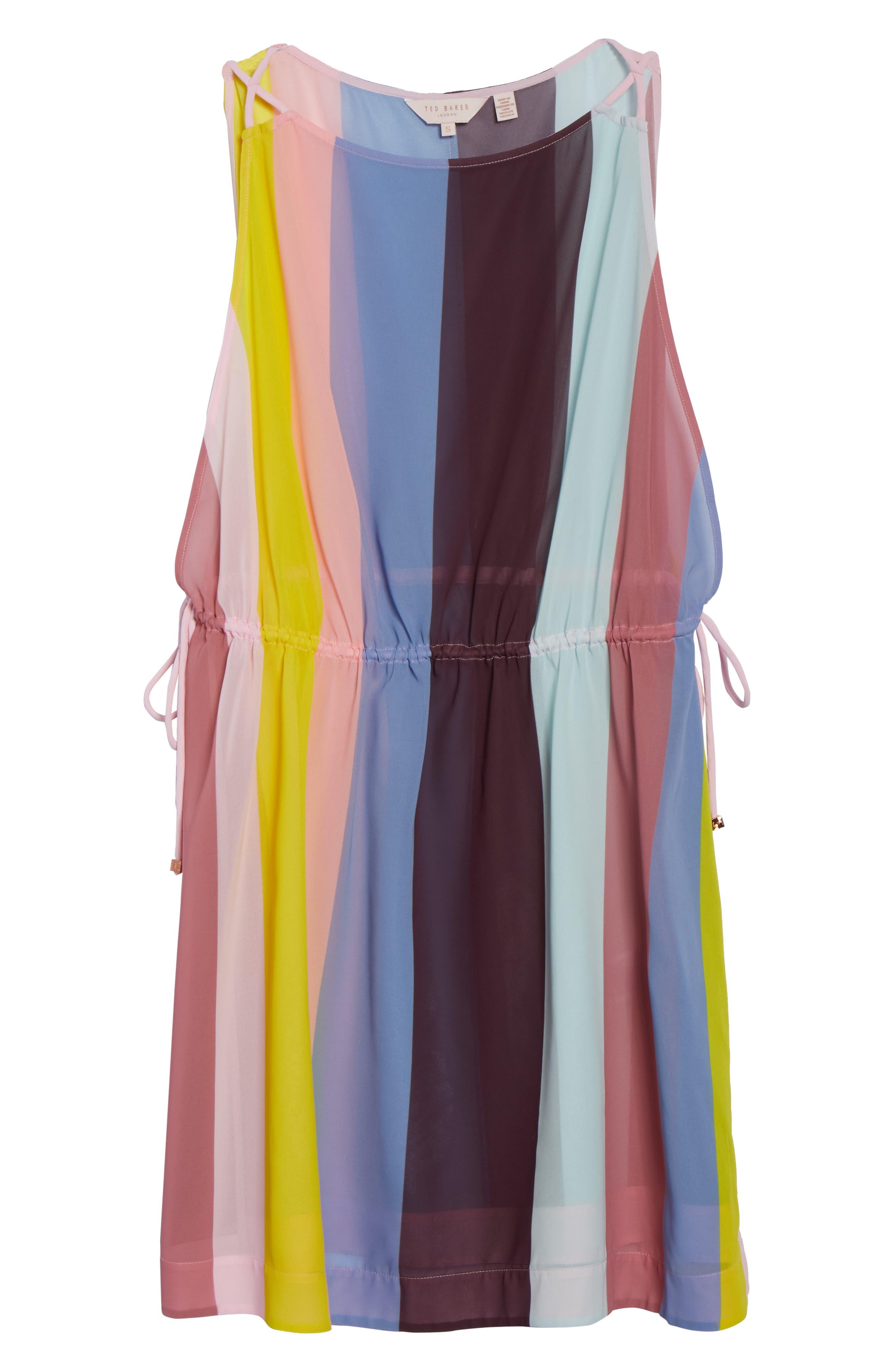 Penaree Rio Stripe Tabbard Cover-Up,                             Alternate thumbnail 6, color,                             LIGHT PINK