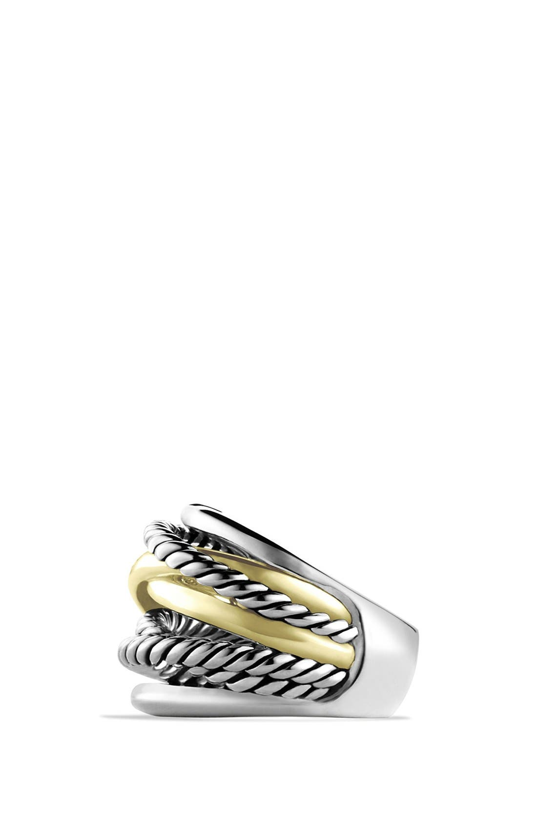 'Crossover' Wide Ring with Gold,                             Alternate thumbnail 2, color,                             STERLING SILVER/ 14K GOLD