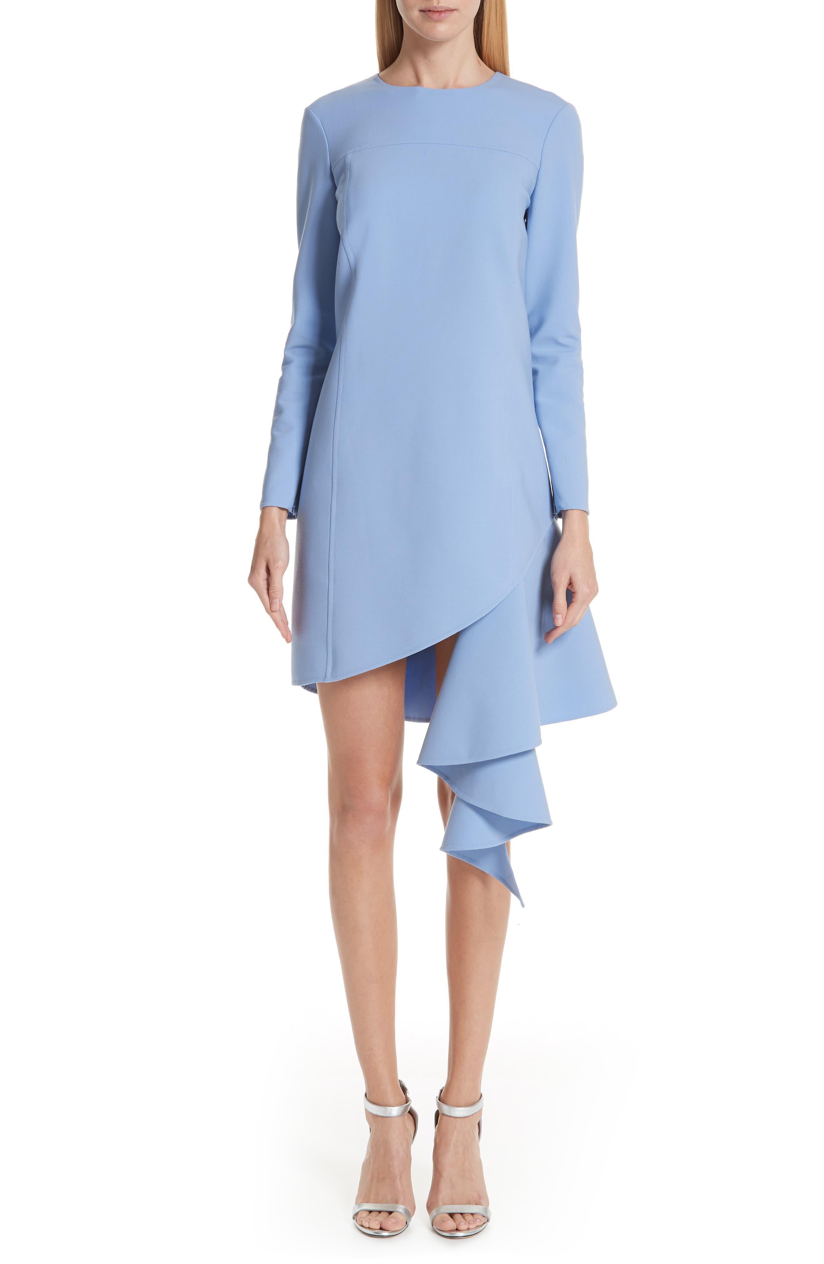 Oscar De La Renta Asymmetrical Ruffle Hem Stretch Wool Dress, Blue