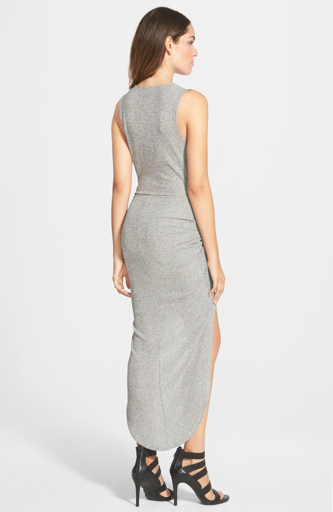 LEITH,                             Knot Front High/Low Dress,                             Alternate thumbnail 3, color,                             030