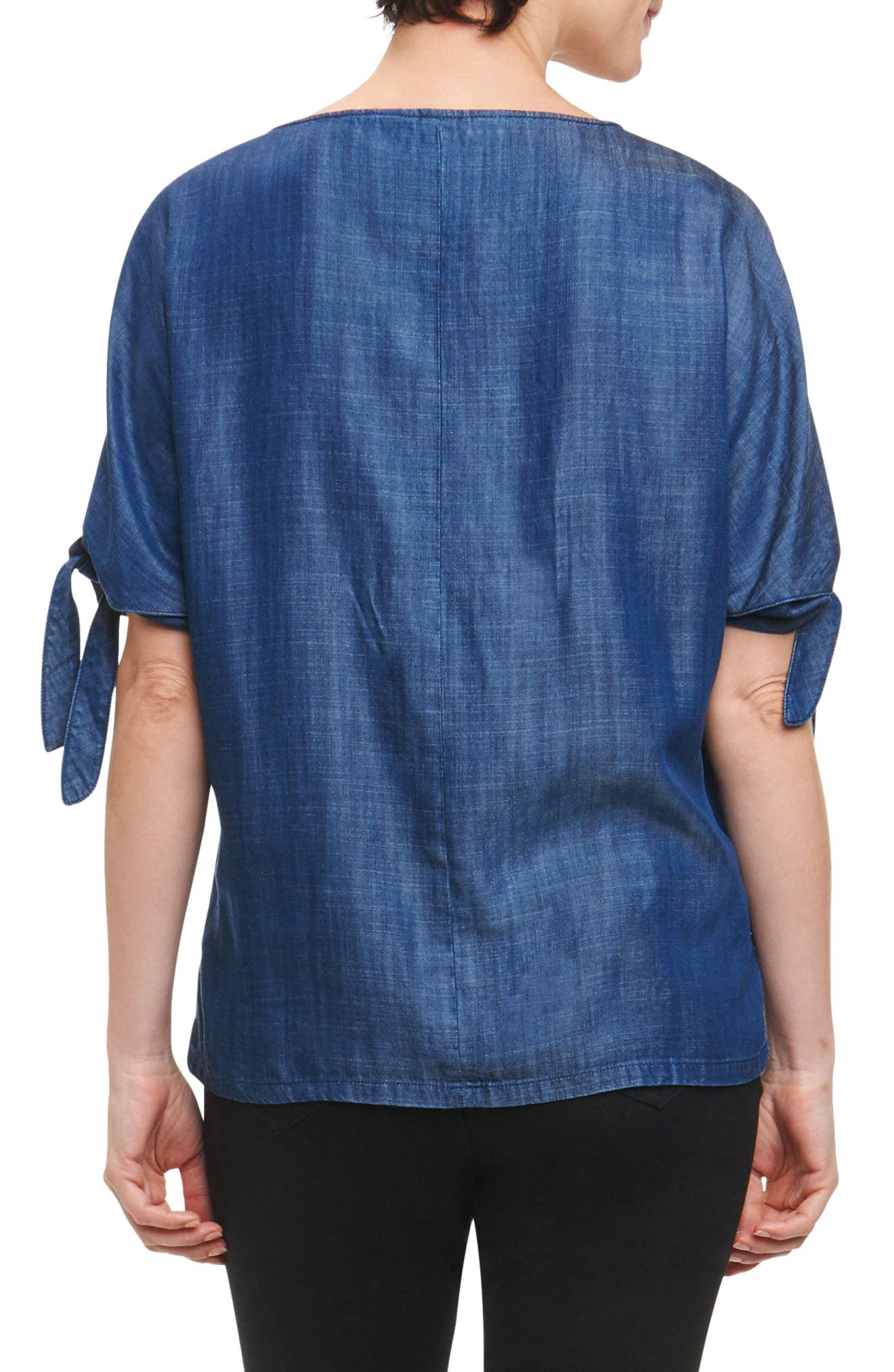 Laura Tie Sleeve Chambray Shirt,                             Alternate thumbnail 2, color,