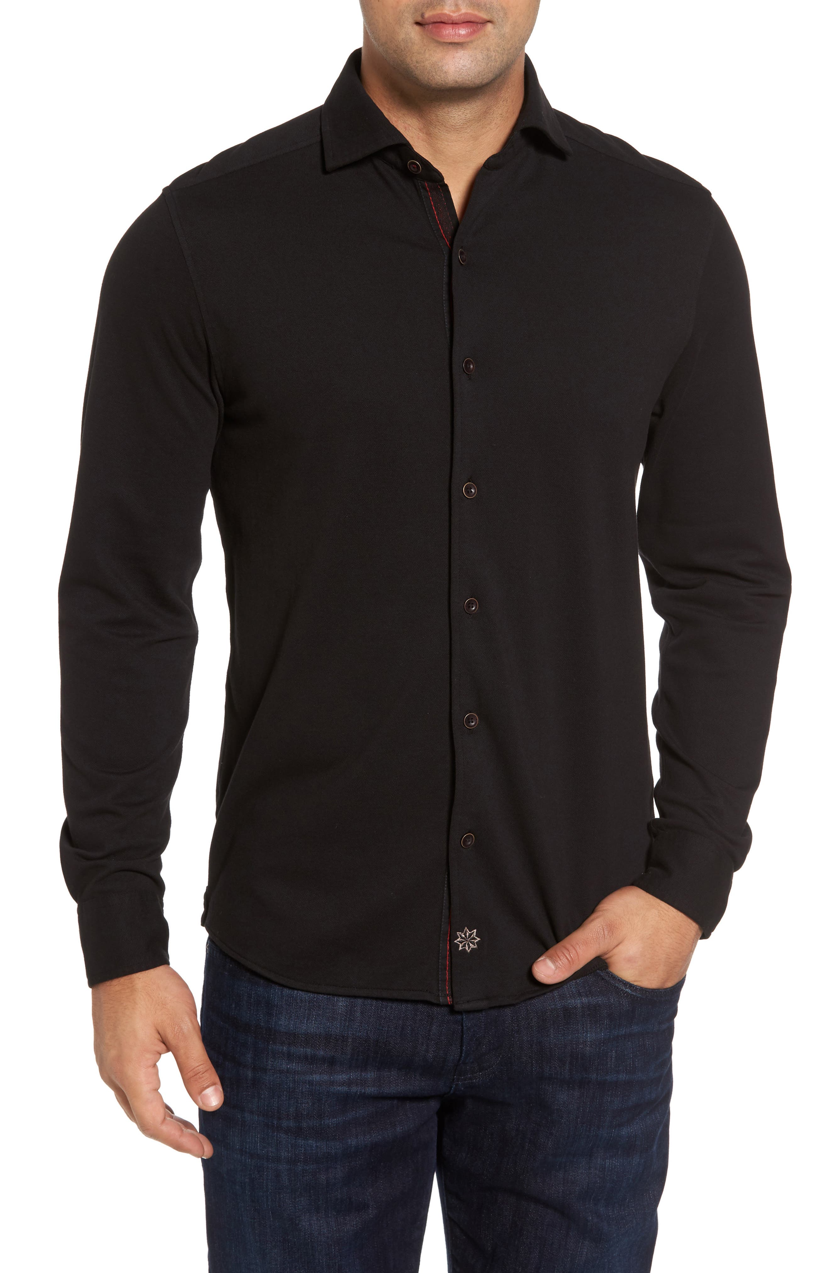 Shively Piqué Knit Sport Shirt,                             Main thumbnail 1, color,                             001