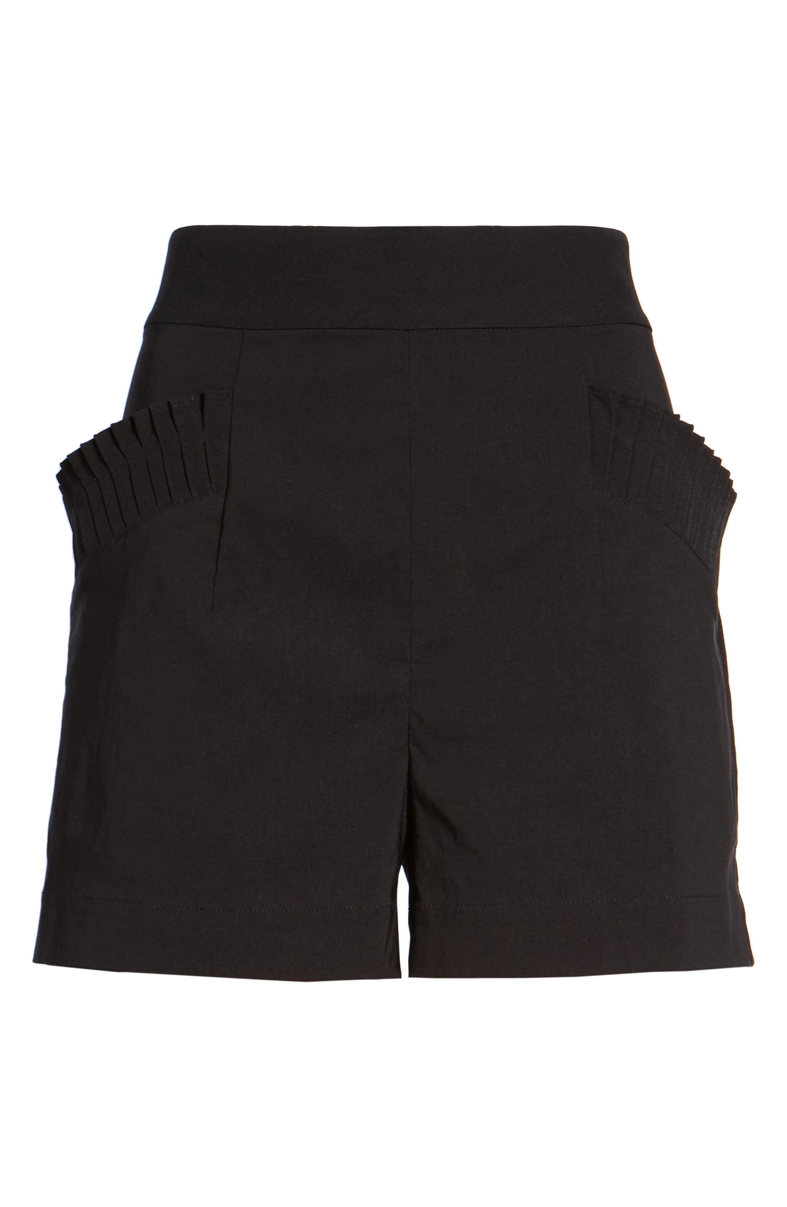 Pleat Trim High Waist Shorts,                             Alternate thumbnail 6, color,                             001