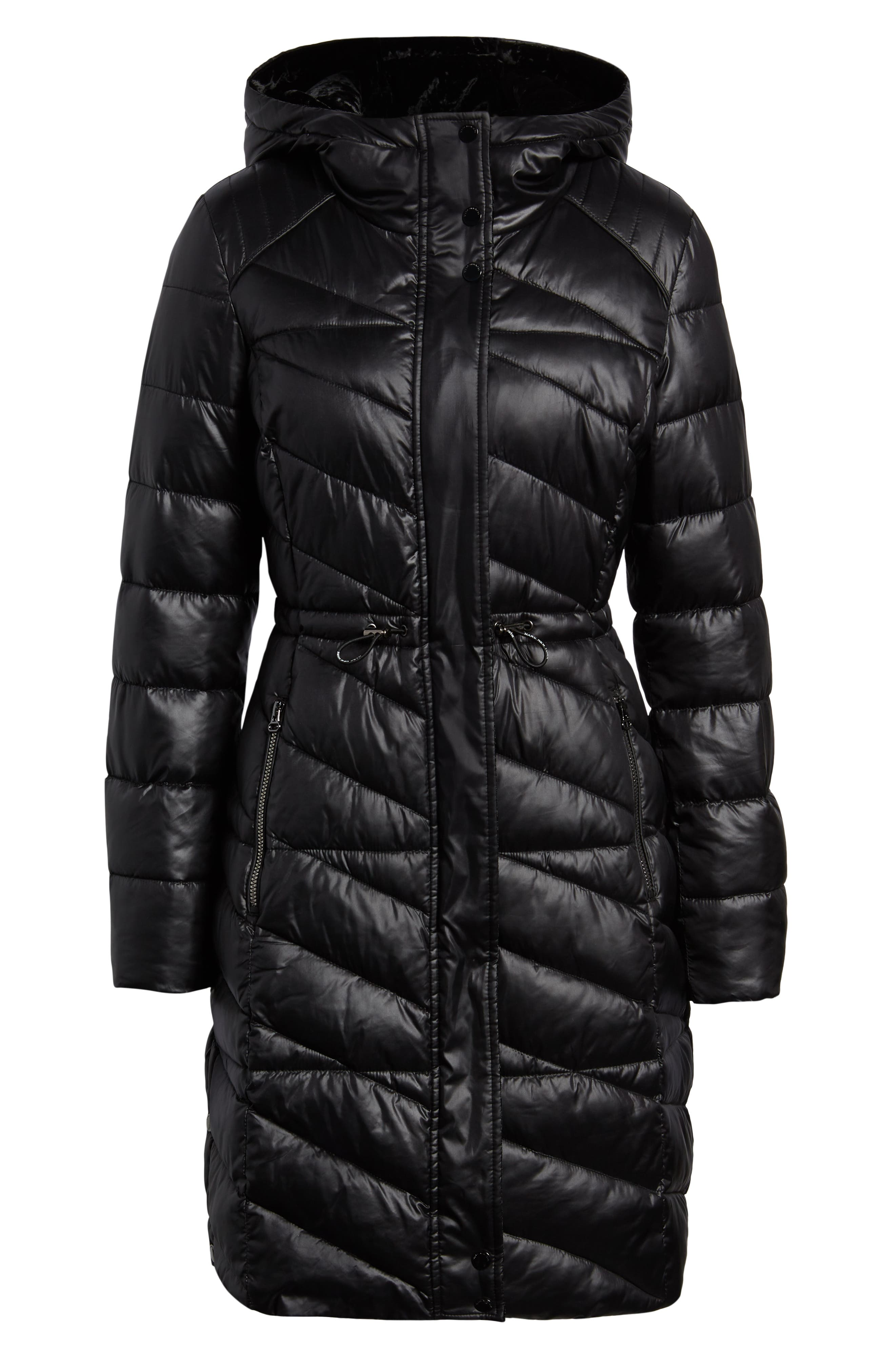 Velvet Trim Quilted Coat,                             Alternate thumbnail 6, color,                             BLACK