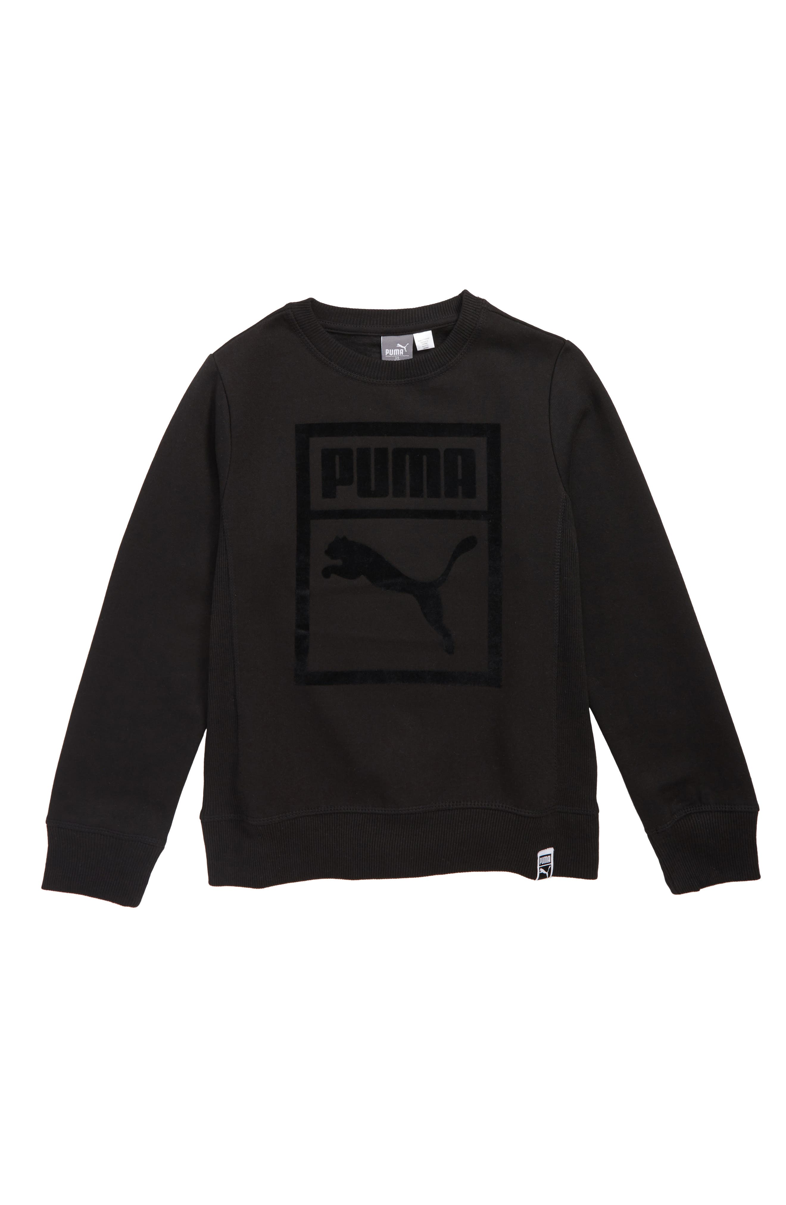 PUMA,                             Cotton Fleece Heritage Pullover,                             Main thumbnail 1, color,                             001