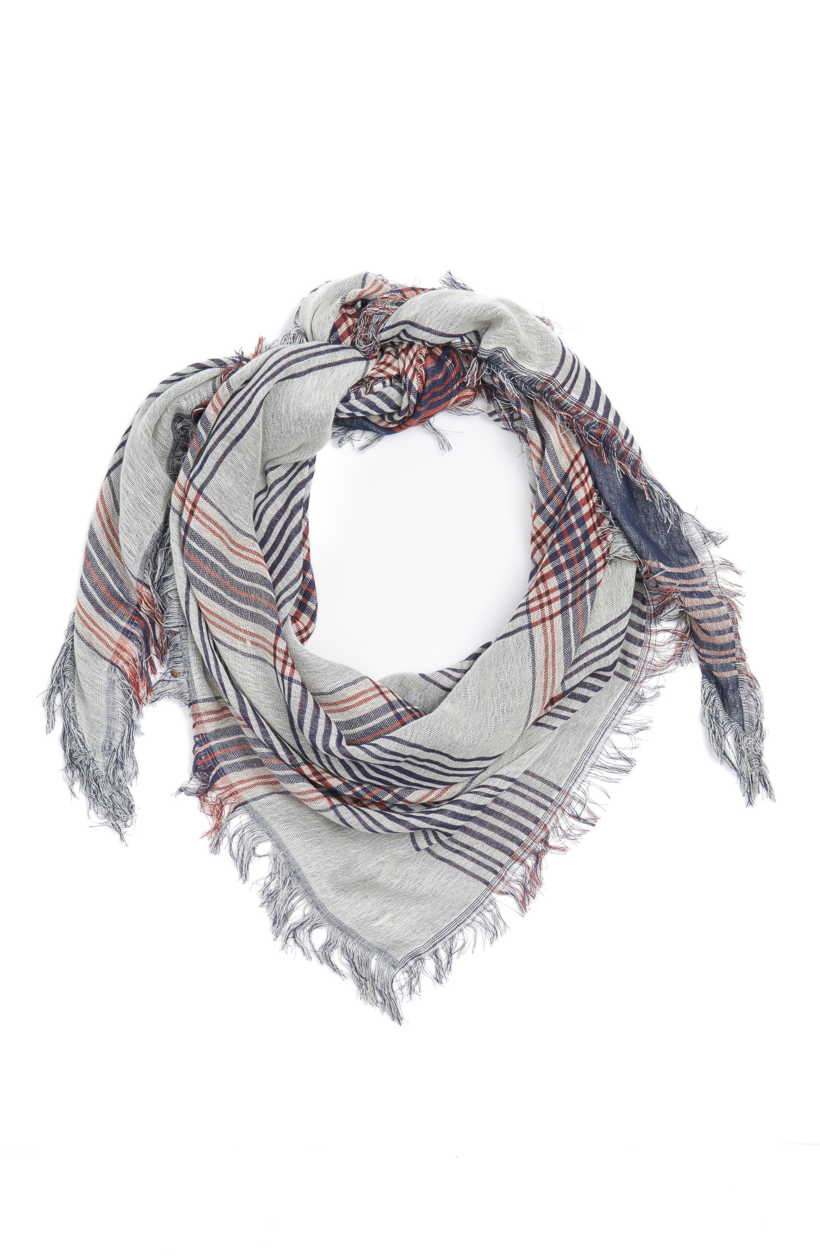 BP Dual Plaid Triangle Scarf,                             Alternate thumbnail 3, color,                             NAVY/IVORY