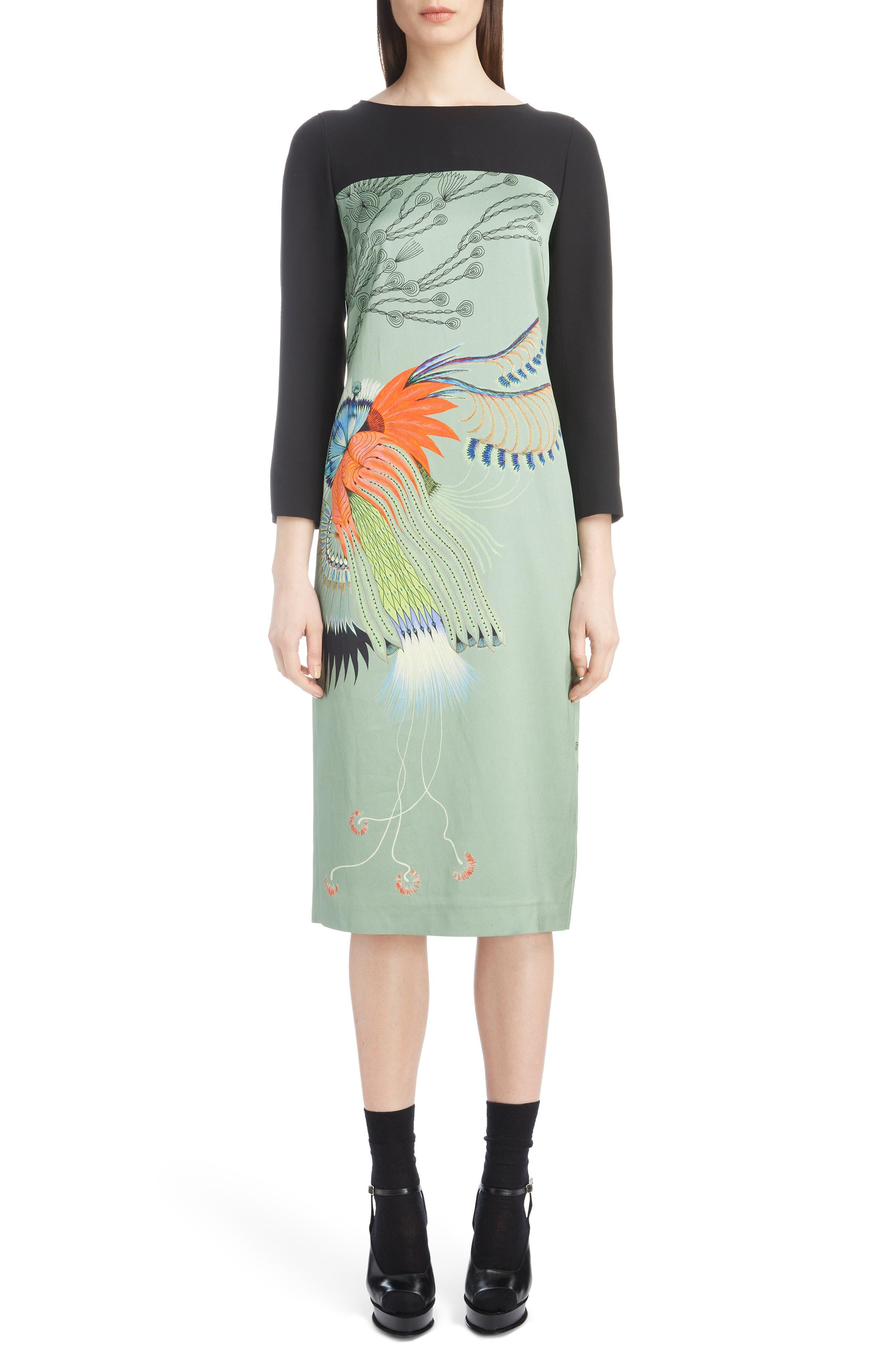 Placed Floral Print Dress,                             Main thumbnail 1, color,                             440