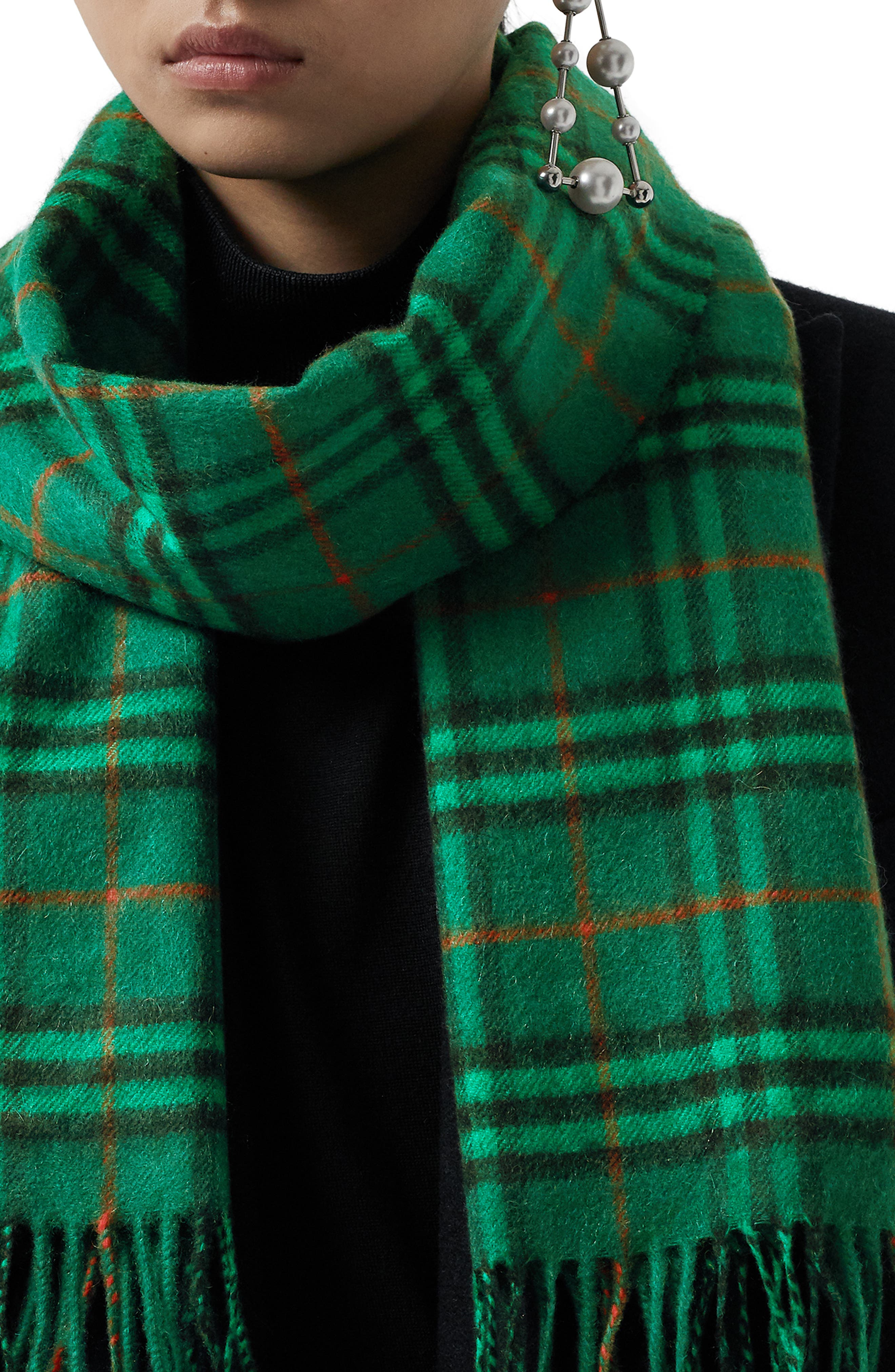 BURBERRY,                             Vintage Check Cashmere Scarf,                             Alternate thumbnail 5, color,                             VIRIDIAN GREEN