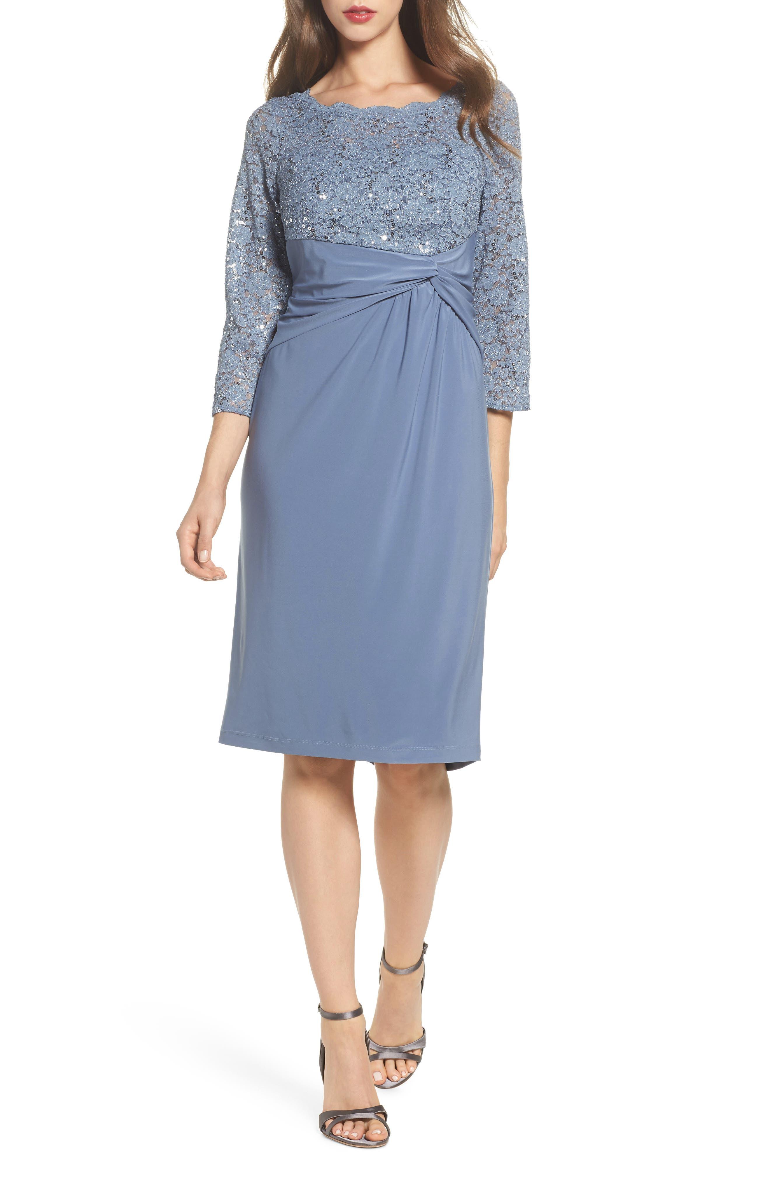 Knot Front Mixed Media Sheath Dress,                         Main,                         color, 451