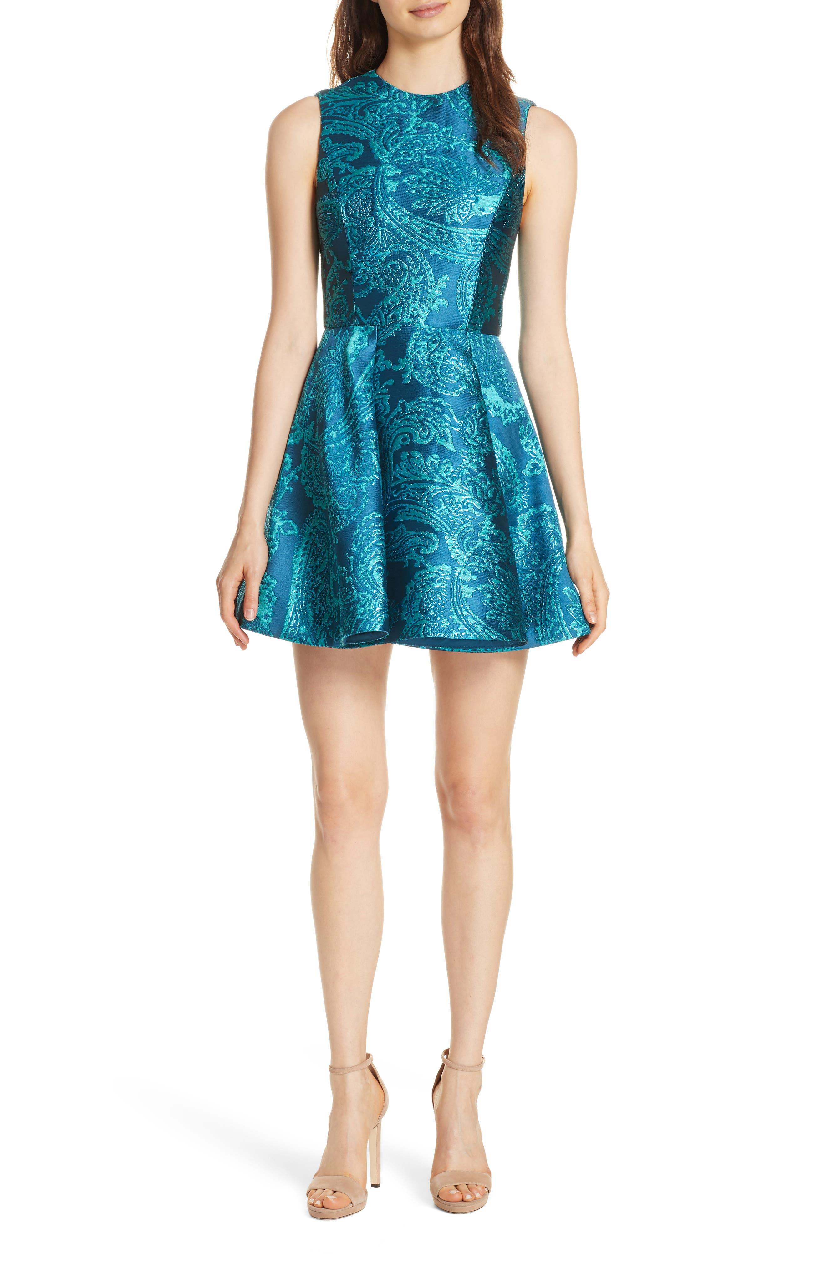 Alice + Olivia Stasia Paisley Fit & Flare Dress, Blue/green