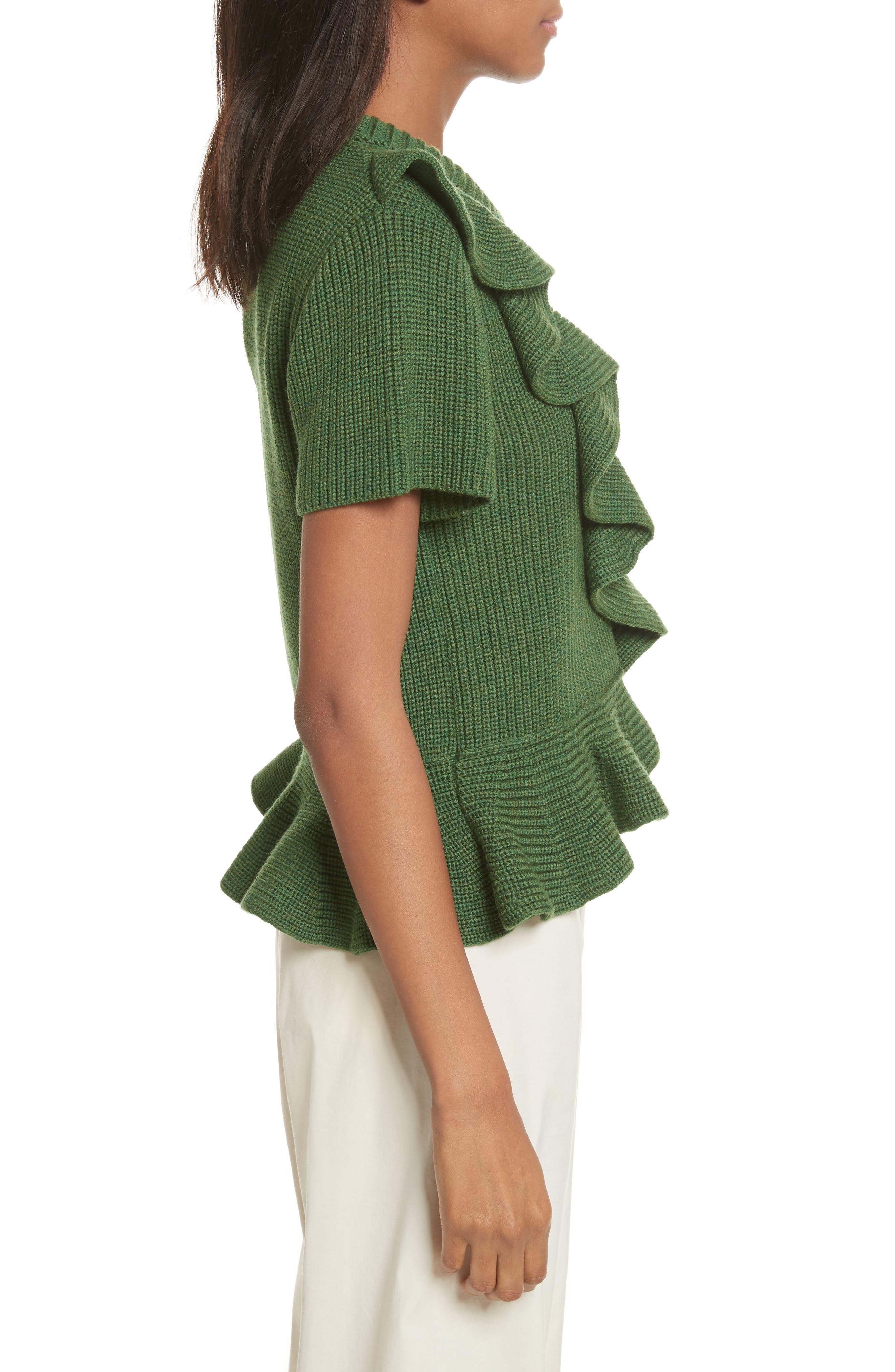 Ruffle Wool Sweater,                             Alternate thumbnail 3, color,                             300