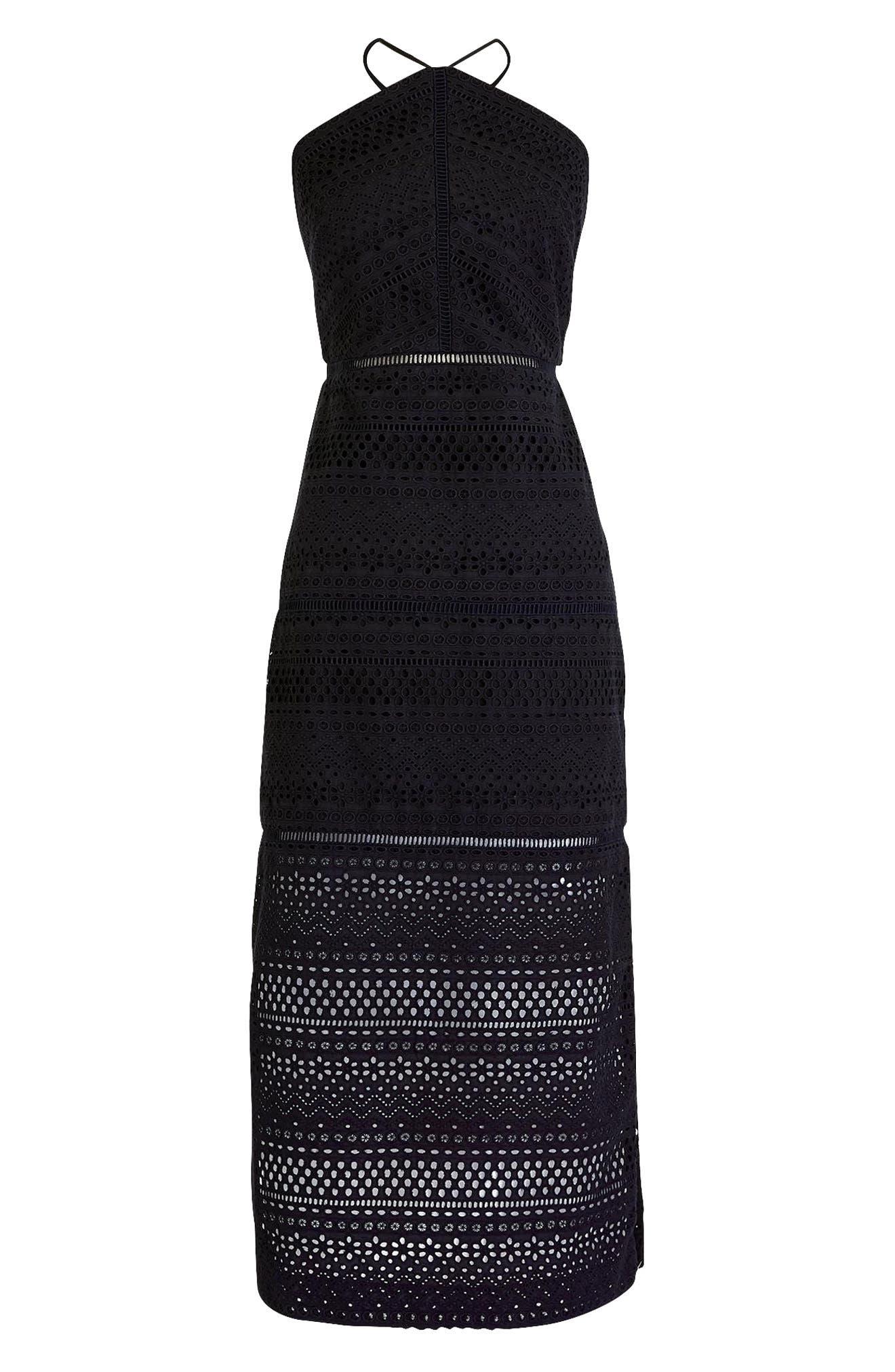 String Halter Eyelet Dress,                             Main thumbnail 1, color,                             001