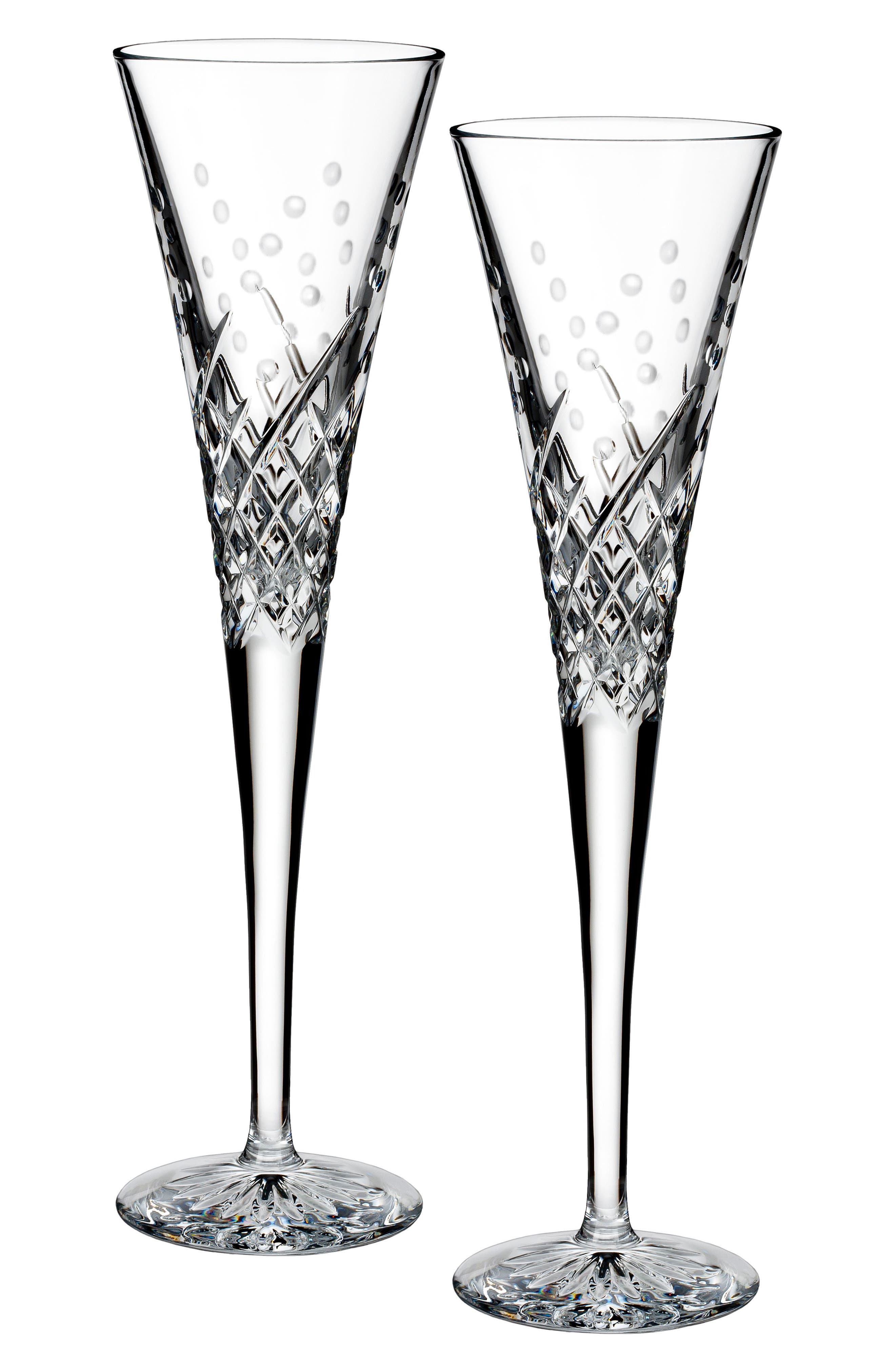 'Happy Celebrations' Lead Crystal Champagne Flutes,                             Alternate thumbnail 2, color,                             100