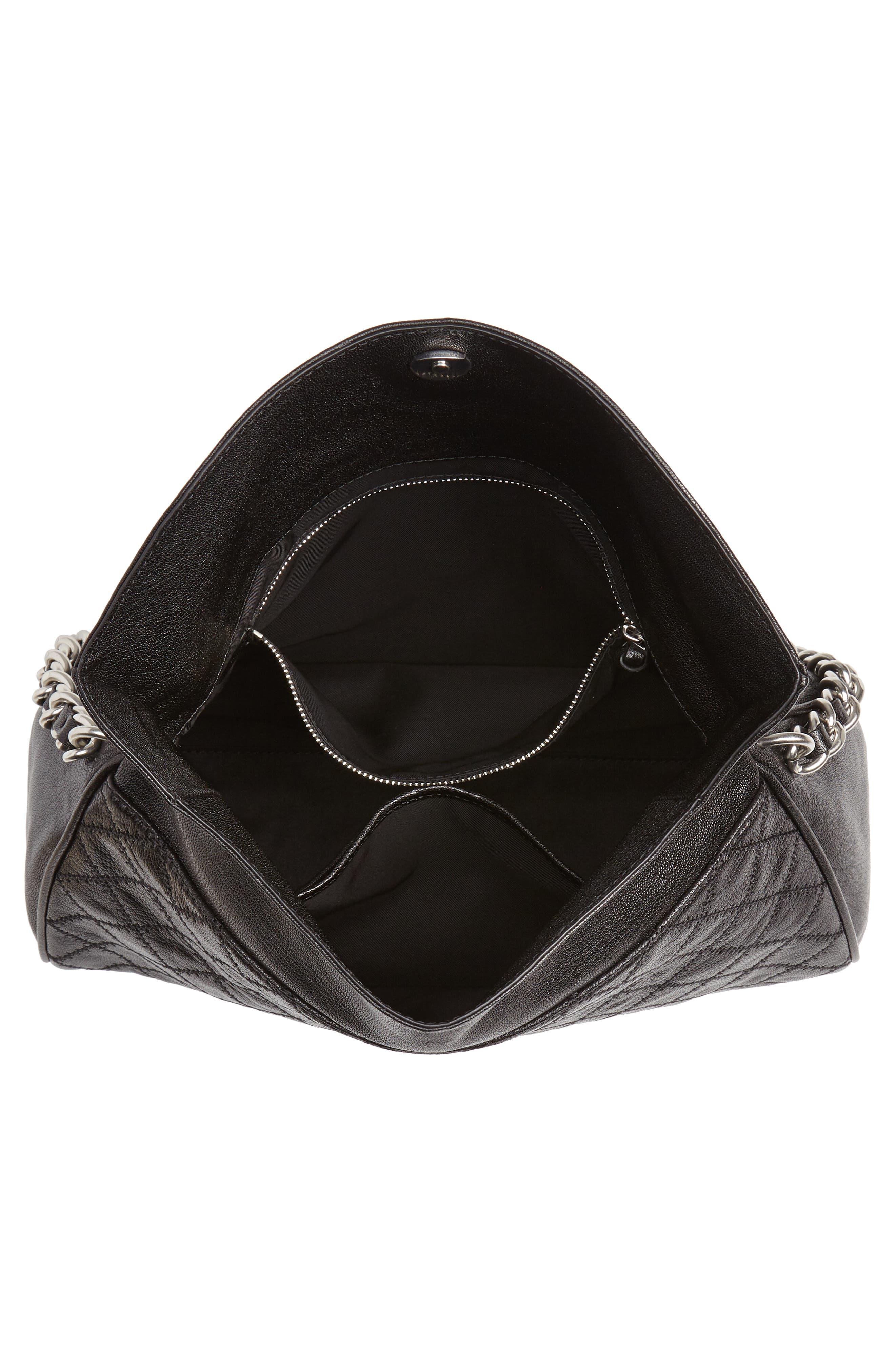 Fleming Leather Foldover Hobo,                             Alternate thumbnail 4, color,                             BLACK
