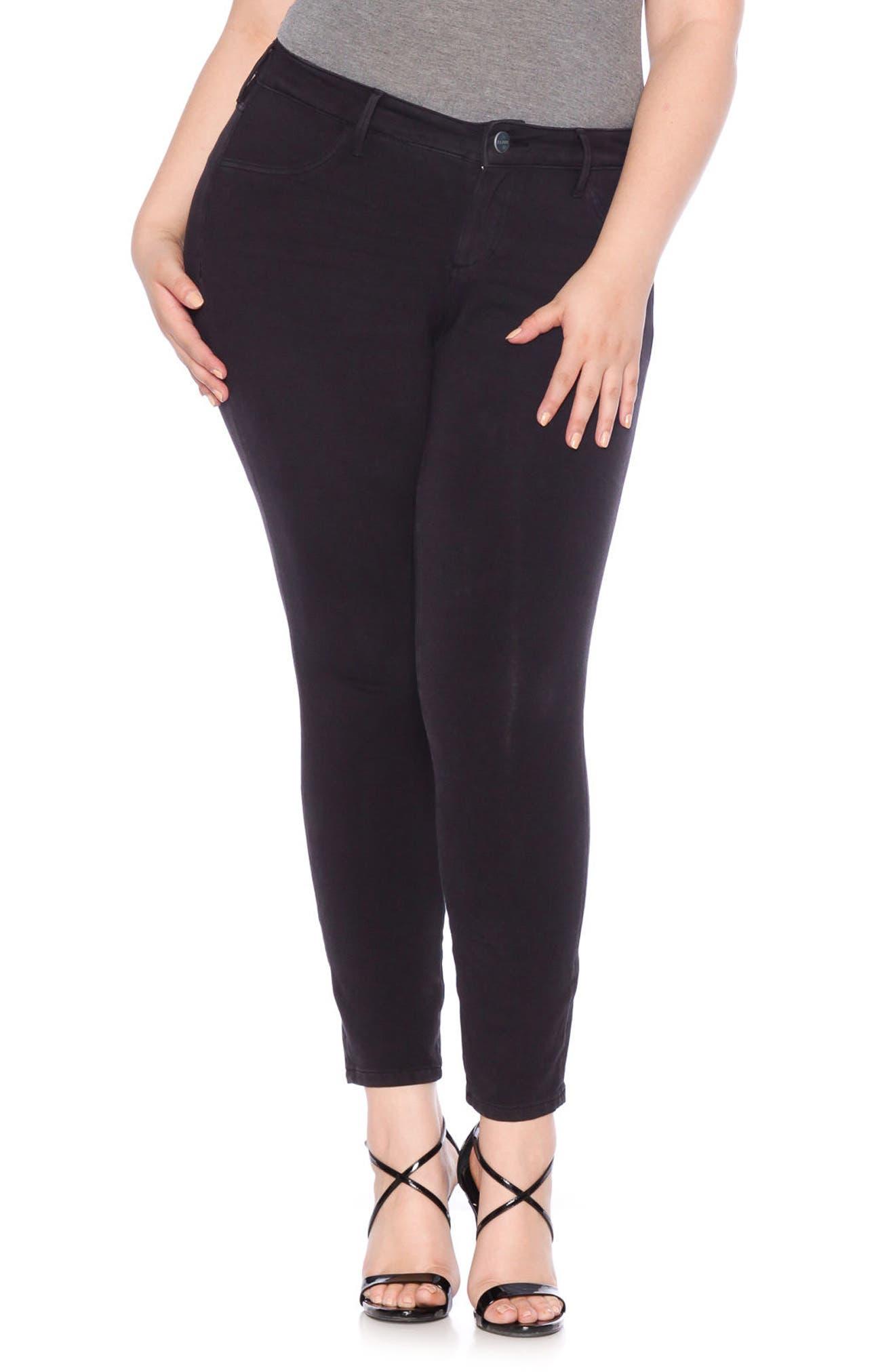 Super Knit Denim Leggings,                         Main,                         color, BLACK