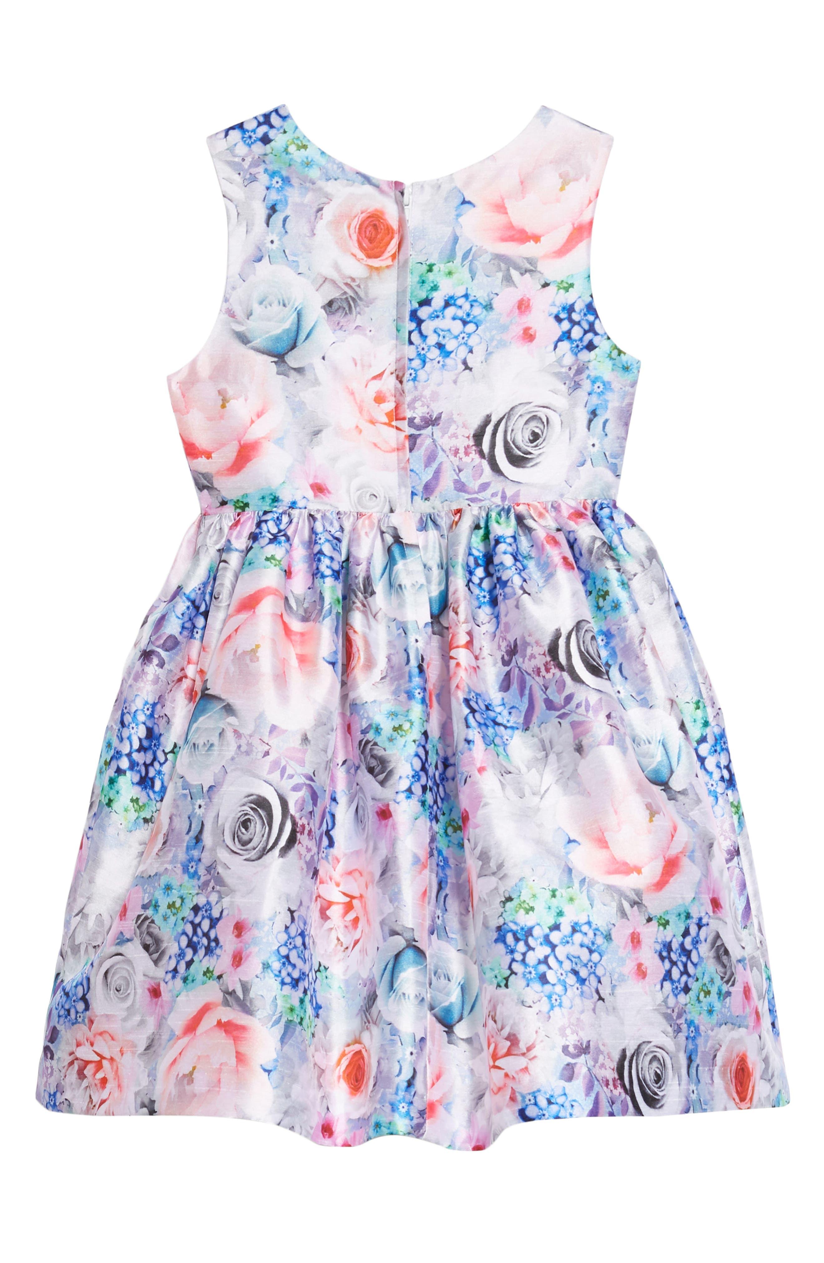 Floral Art Fit & Flare Dress,                             Alternate thumbnail 2, color,                             MULTI