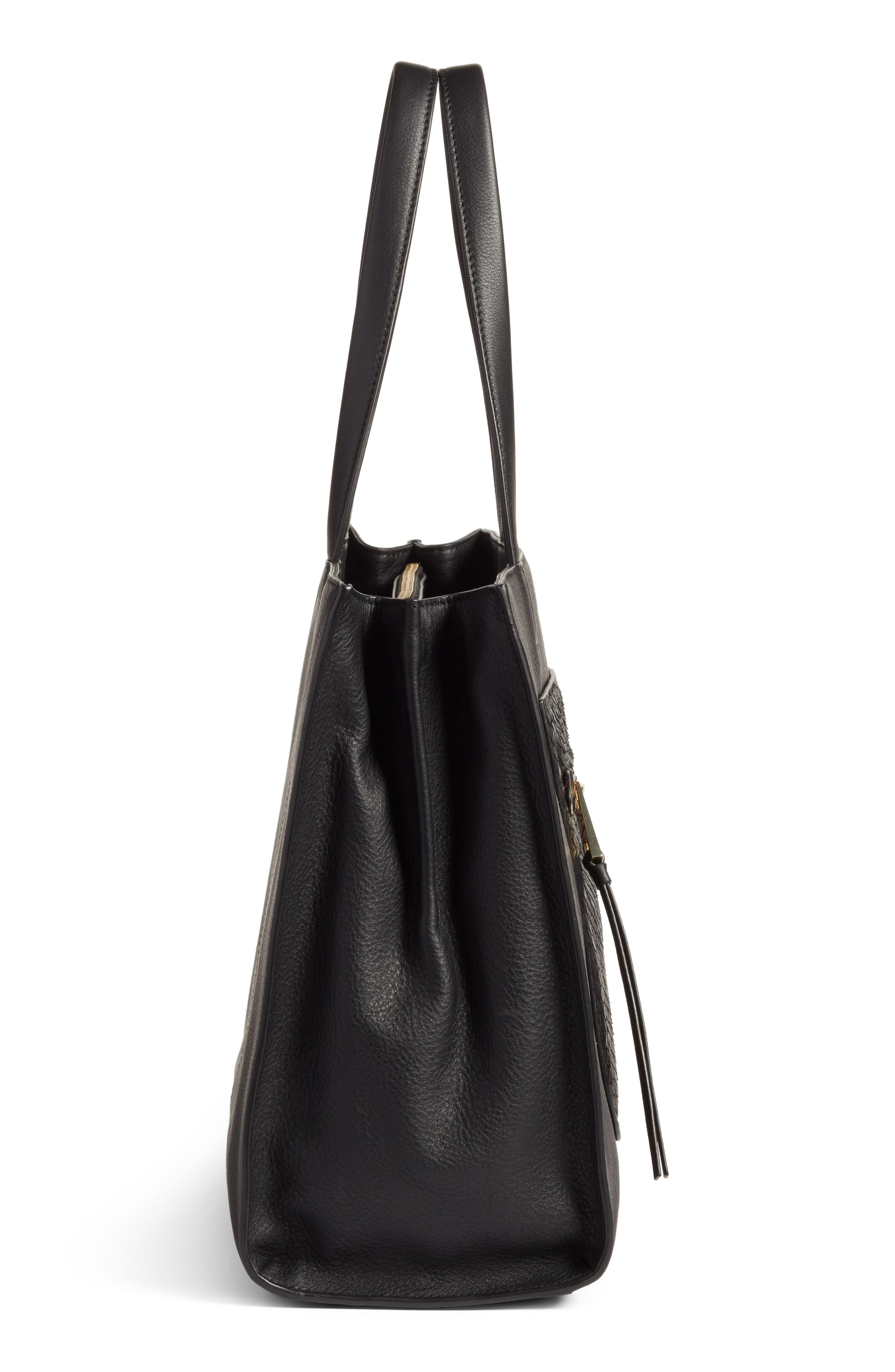 VINCE CAMUTO,                             Elvan Leather Tote,                             Alternate thumbnail 5, color,                             001