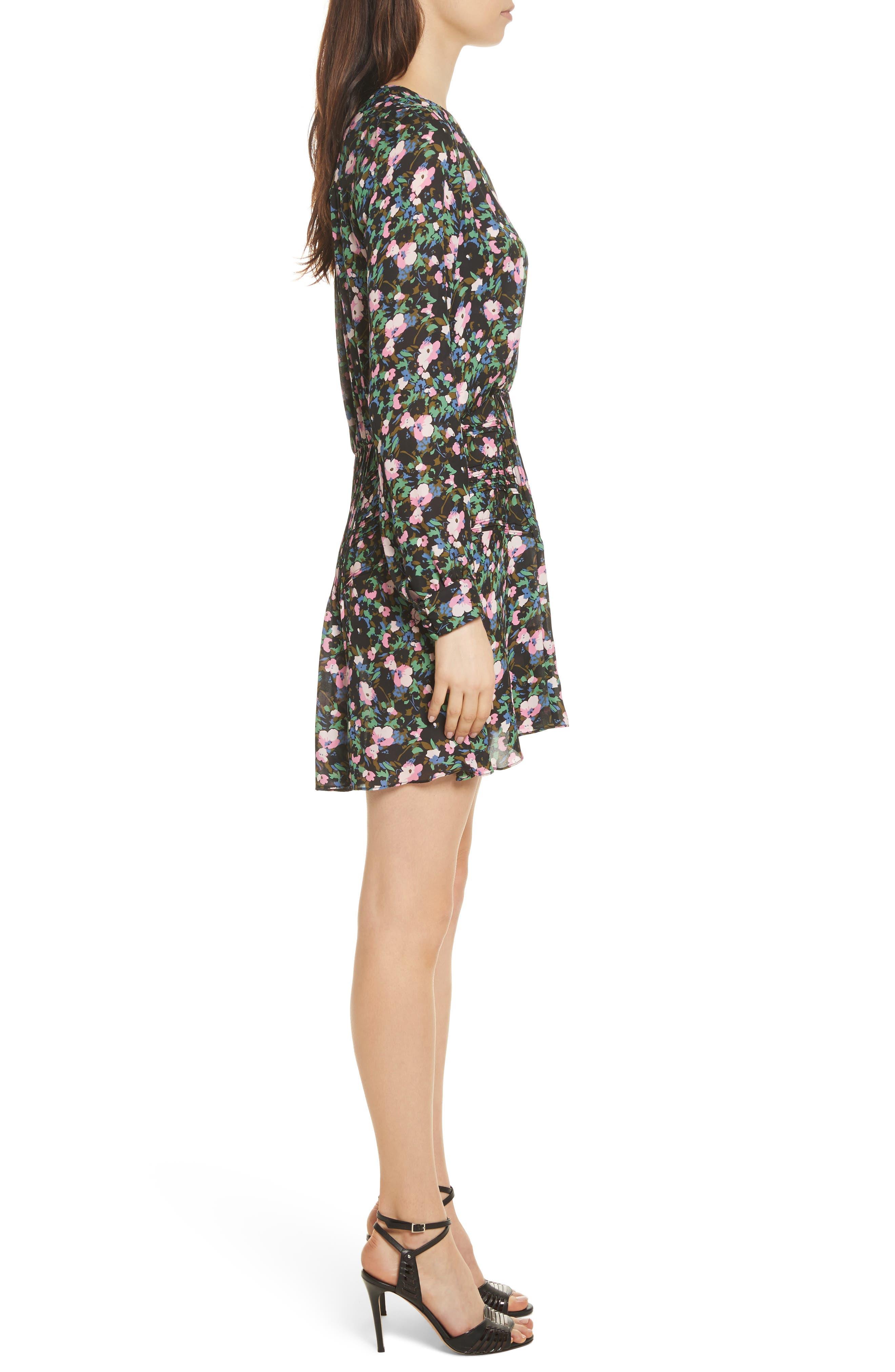 Naomi Floral Print Silk Dress,                             Alternate thumbnail 3, color,