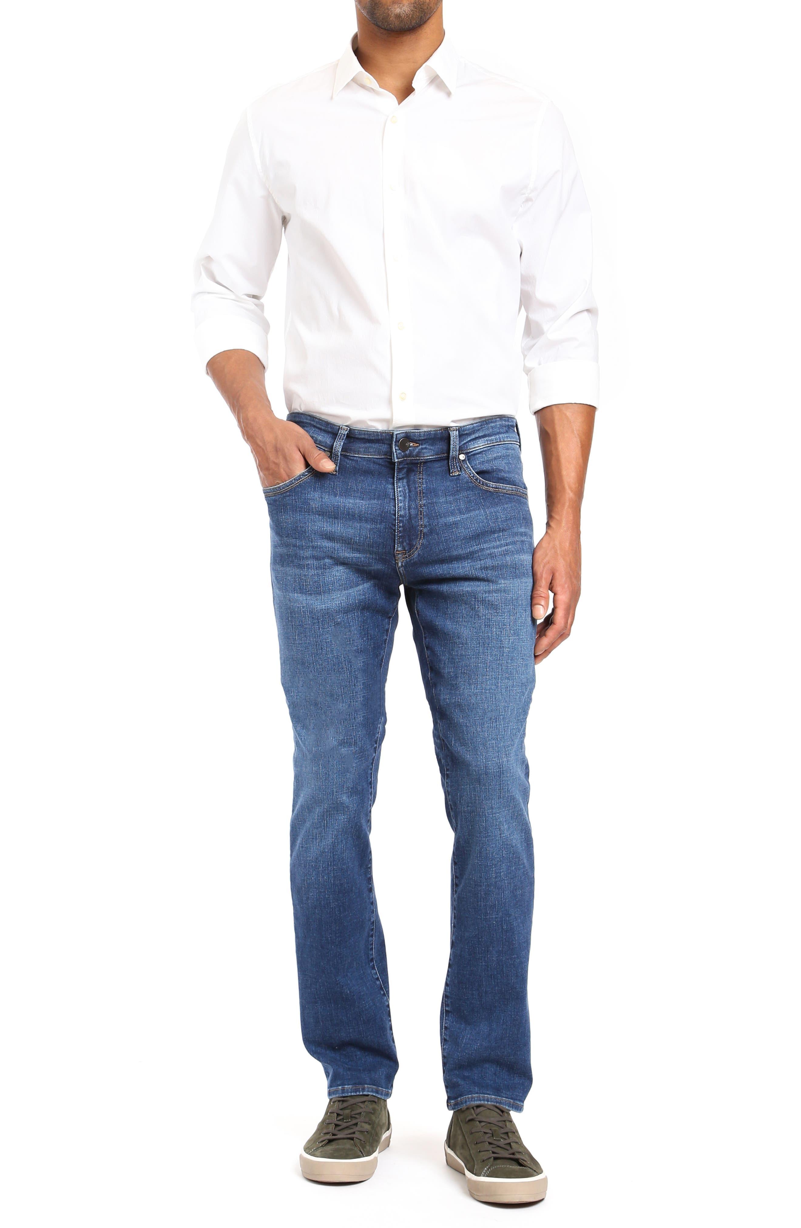 Cool Slim Straight Leg Jeans,                             Alternate thumbnail 4, color,                             MID INDIGO CASHMERE