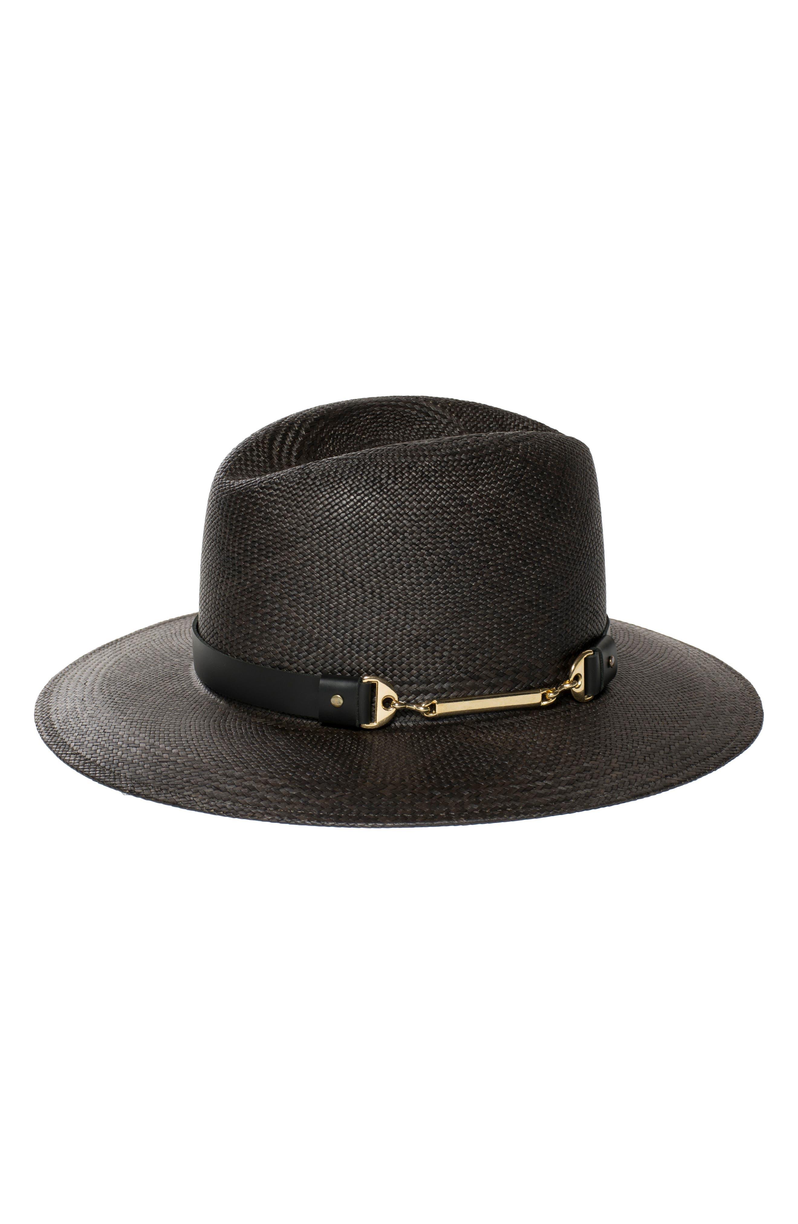 The Marlene Straw Panama Hat,                         Main,                         color, BLACK