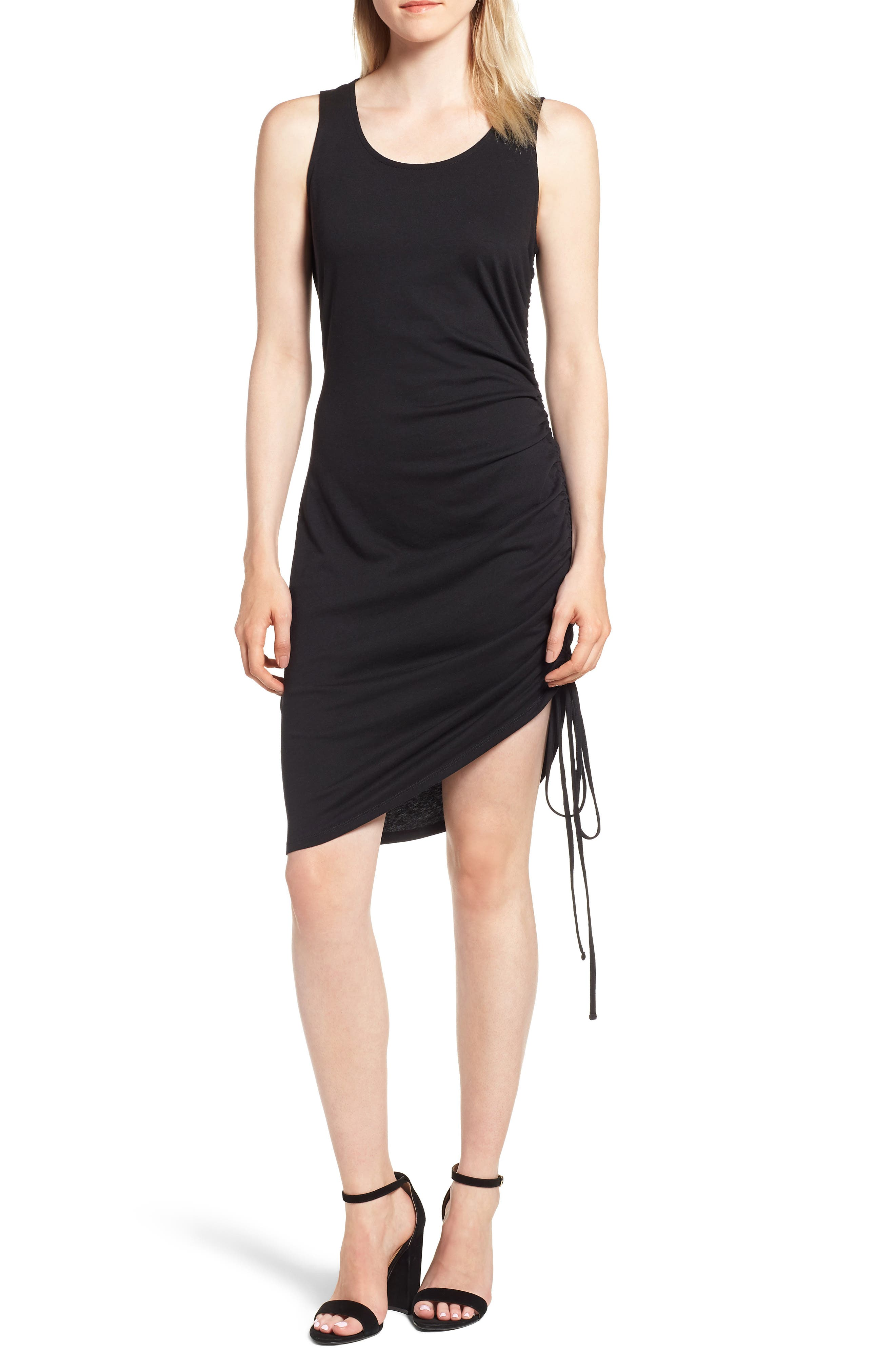 Side Shirred Body-Con Dress,                             Main thumbnail 1, color,                             001