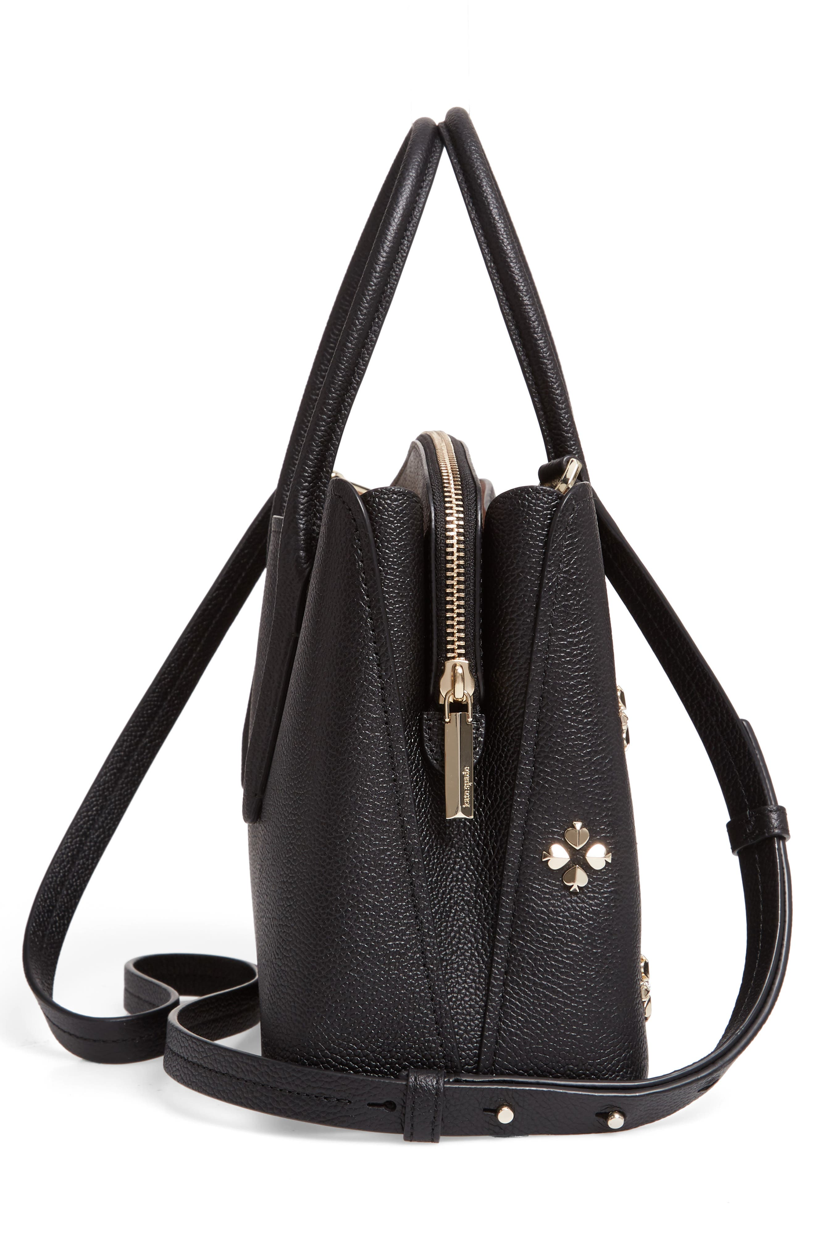 medium margaux embellished leather satchel,                             Alternate thumbnail 5, color,                             BLACK