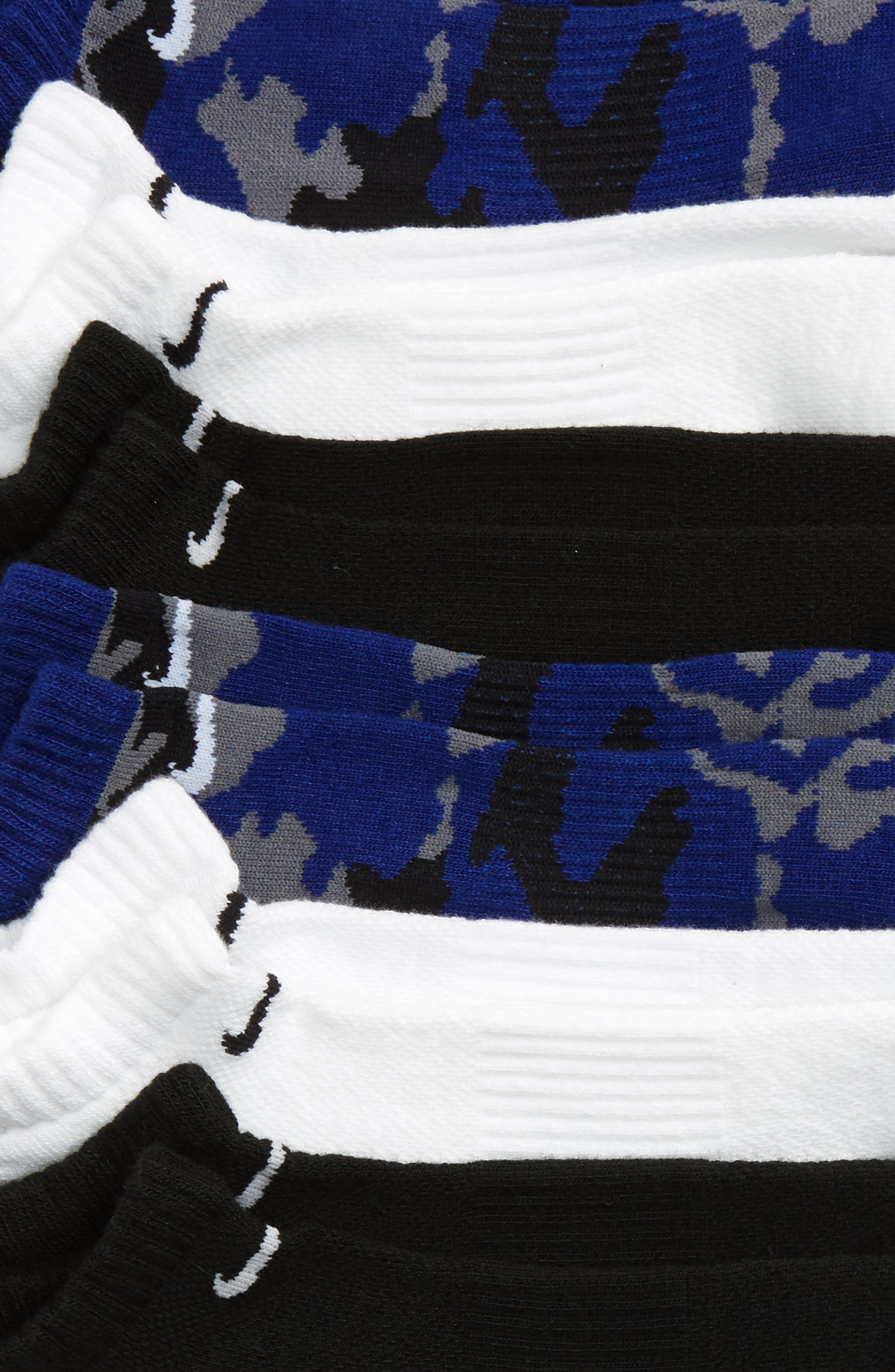 6-Pack Dri-FIT No-Show Socks,                             Alternate thumbnail 2, color,                             BLUE CAMO/ WHITE/ BLACK
