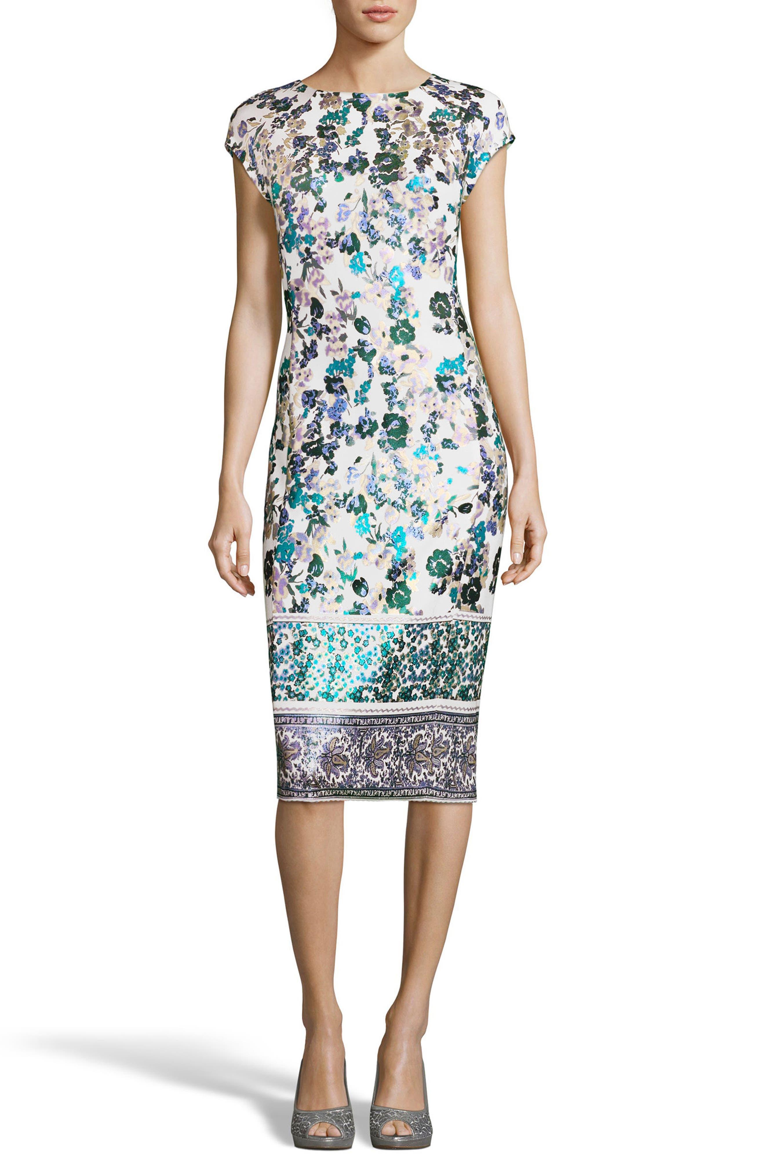 Metallic Foil Print Sheath Dress,                             Main thumbnail 1, color,                             141