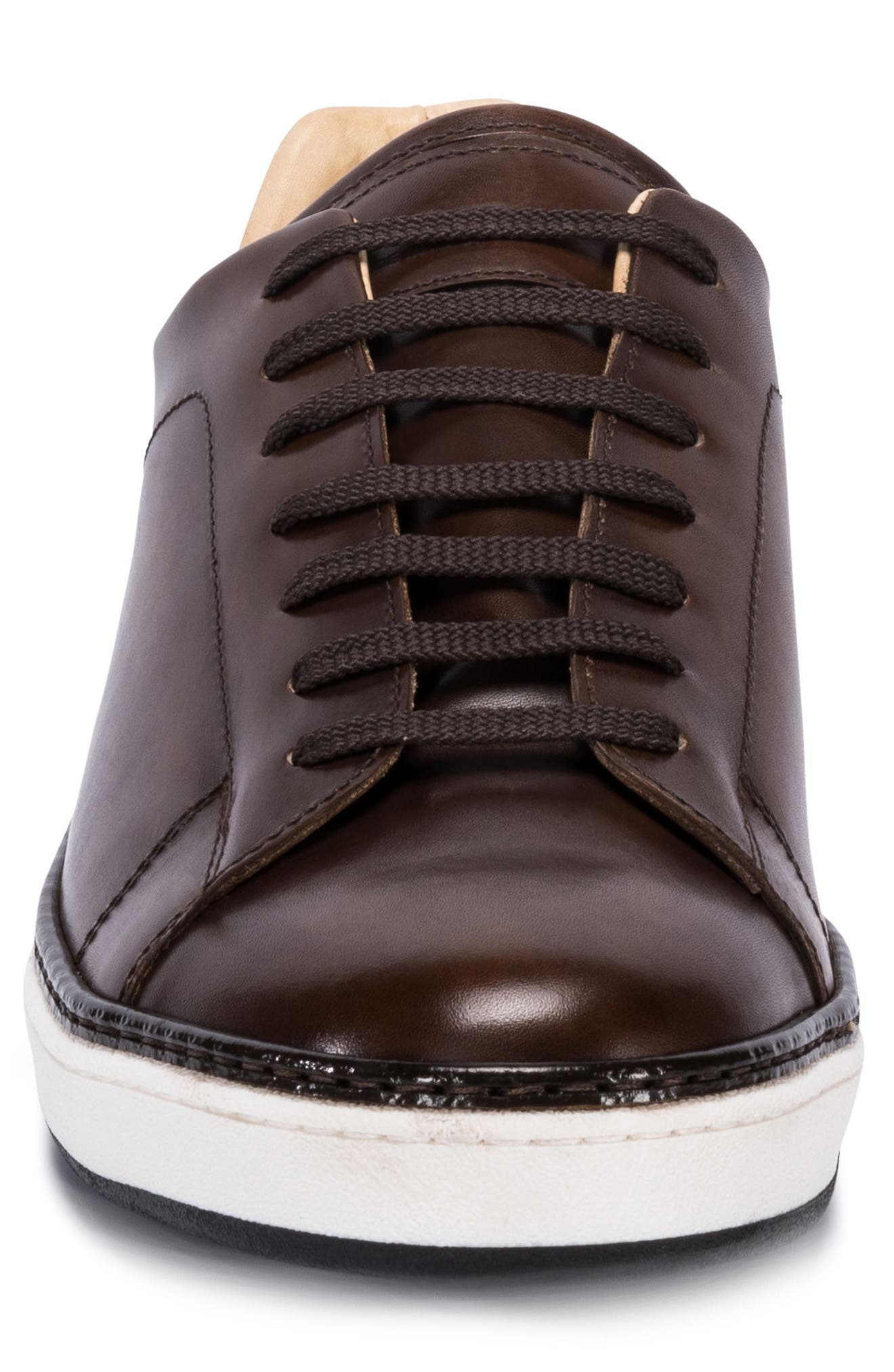 Firenze Low Top Sneaker,                             Alternate thumbnail 4, color,                             BURGUNDY LEATHER