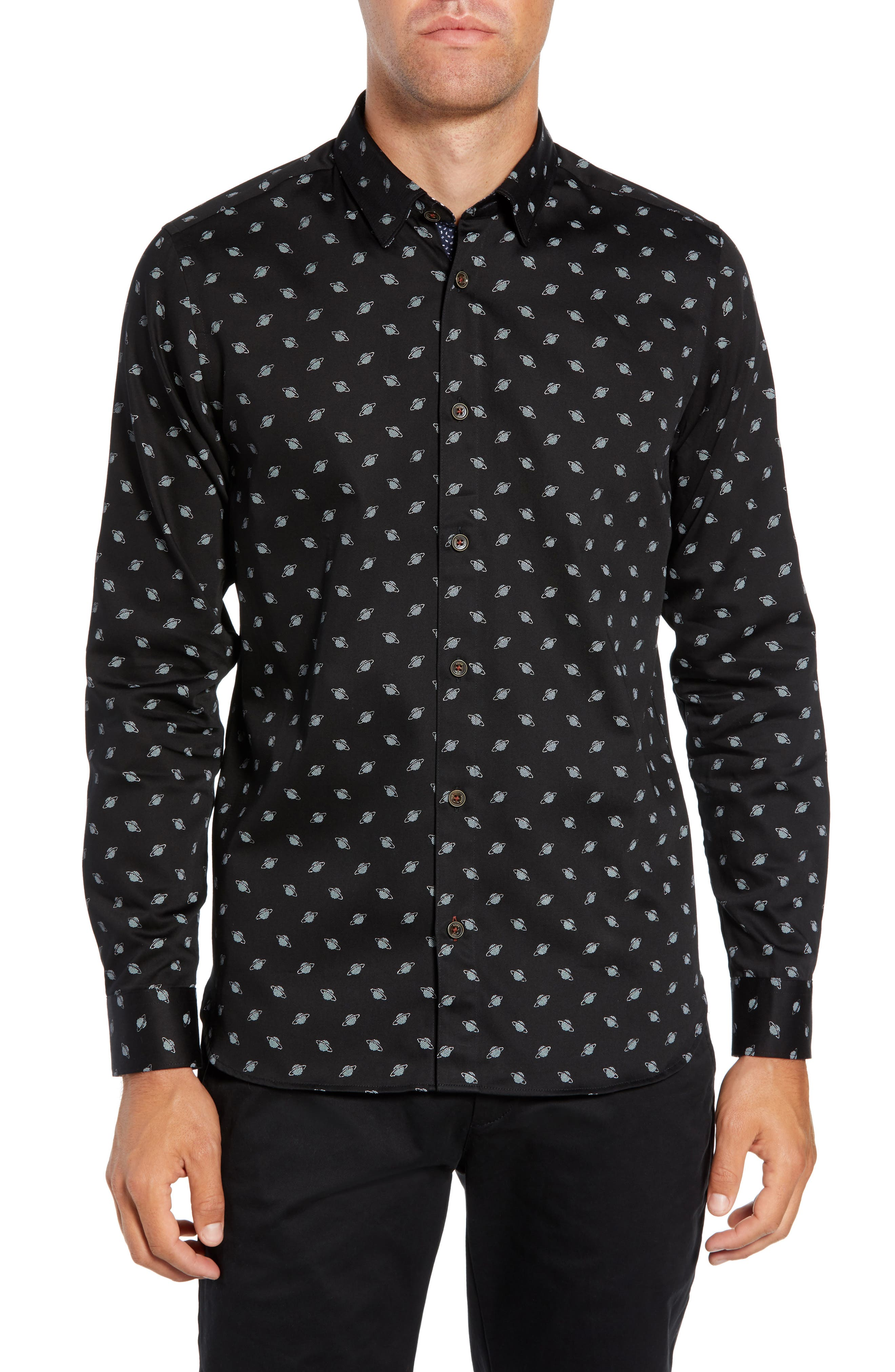 Greenpa Slim Fit Print Sport Shirt,                             Main thumbnail 1, color,                             BLACK
