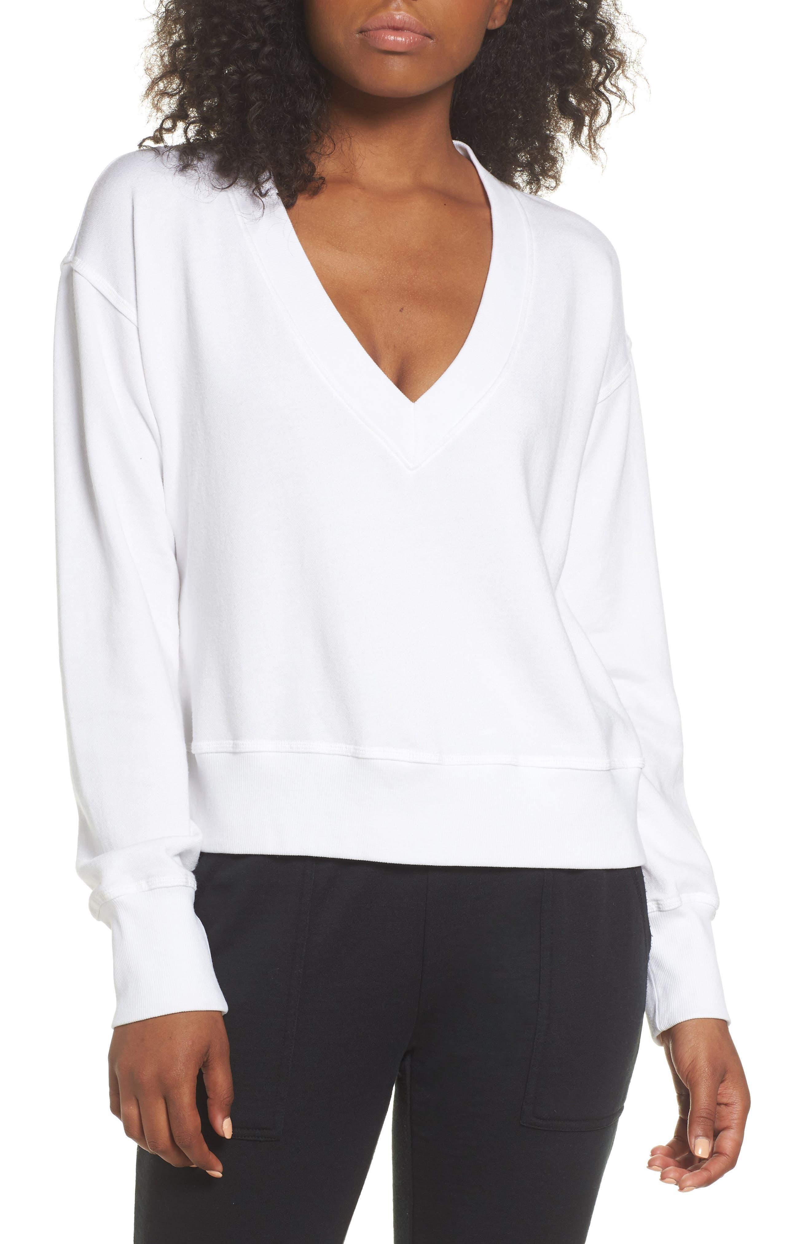 DAVID LERNER Cutout Back Sweatshirt, Main, color, WHITE