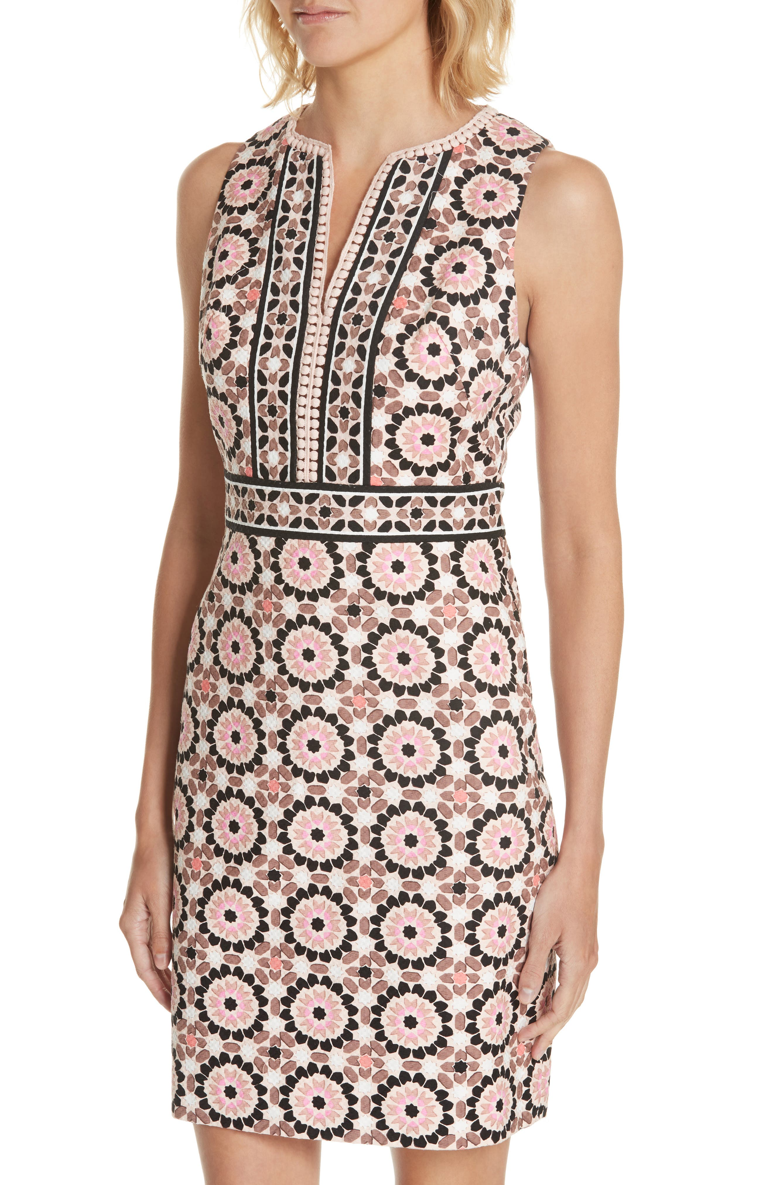 floral mosaic jacquard sheath dress,                             Alternate thumbnail 4, color,