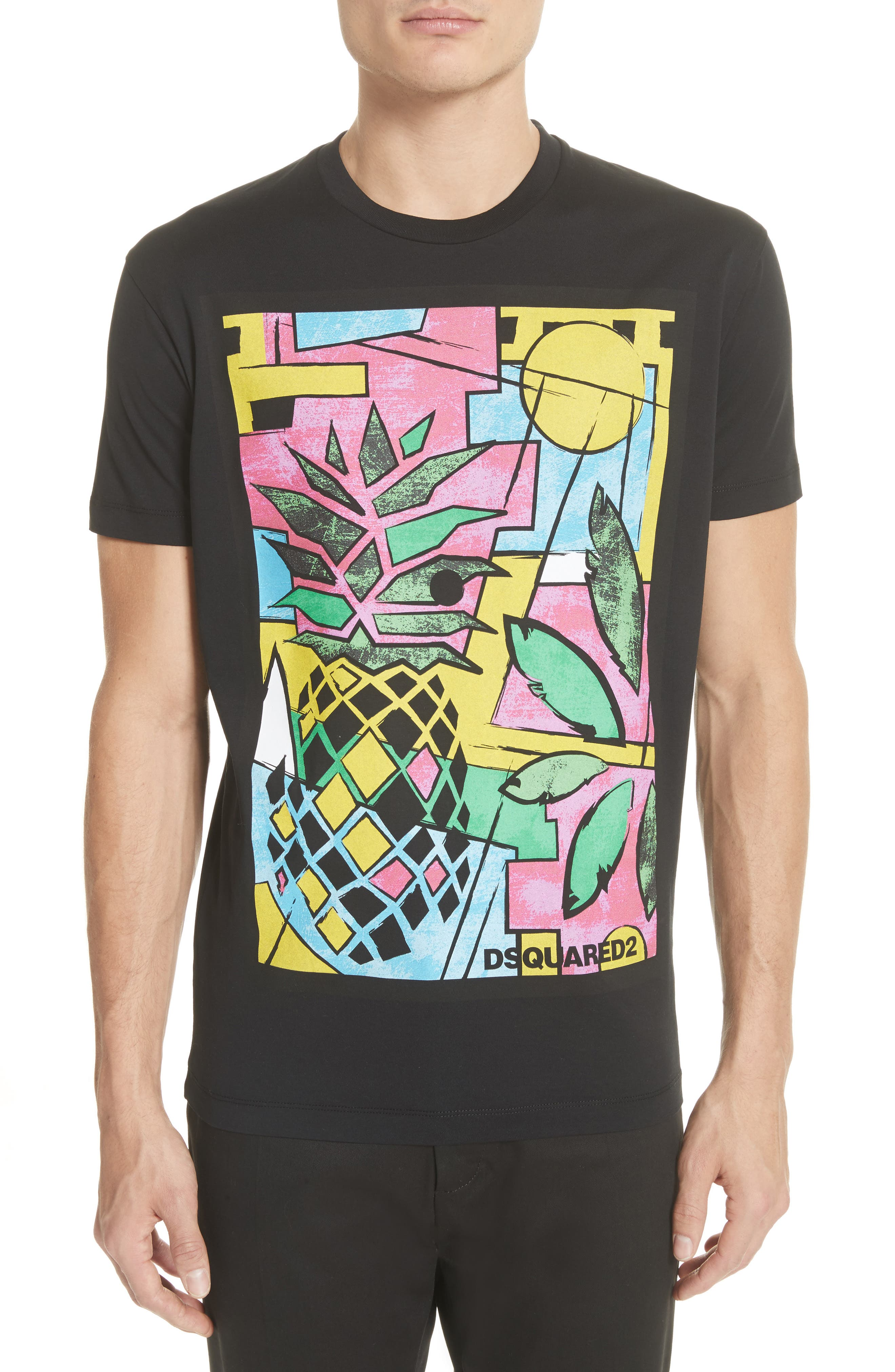 Pineapple Graphic T-Shirt,                             Main thumbnail 1, color,                             001