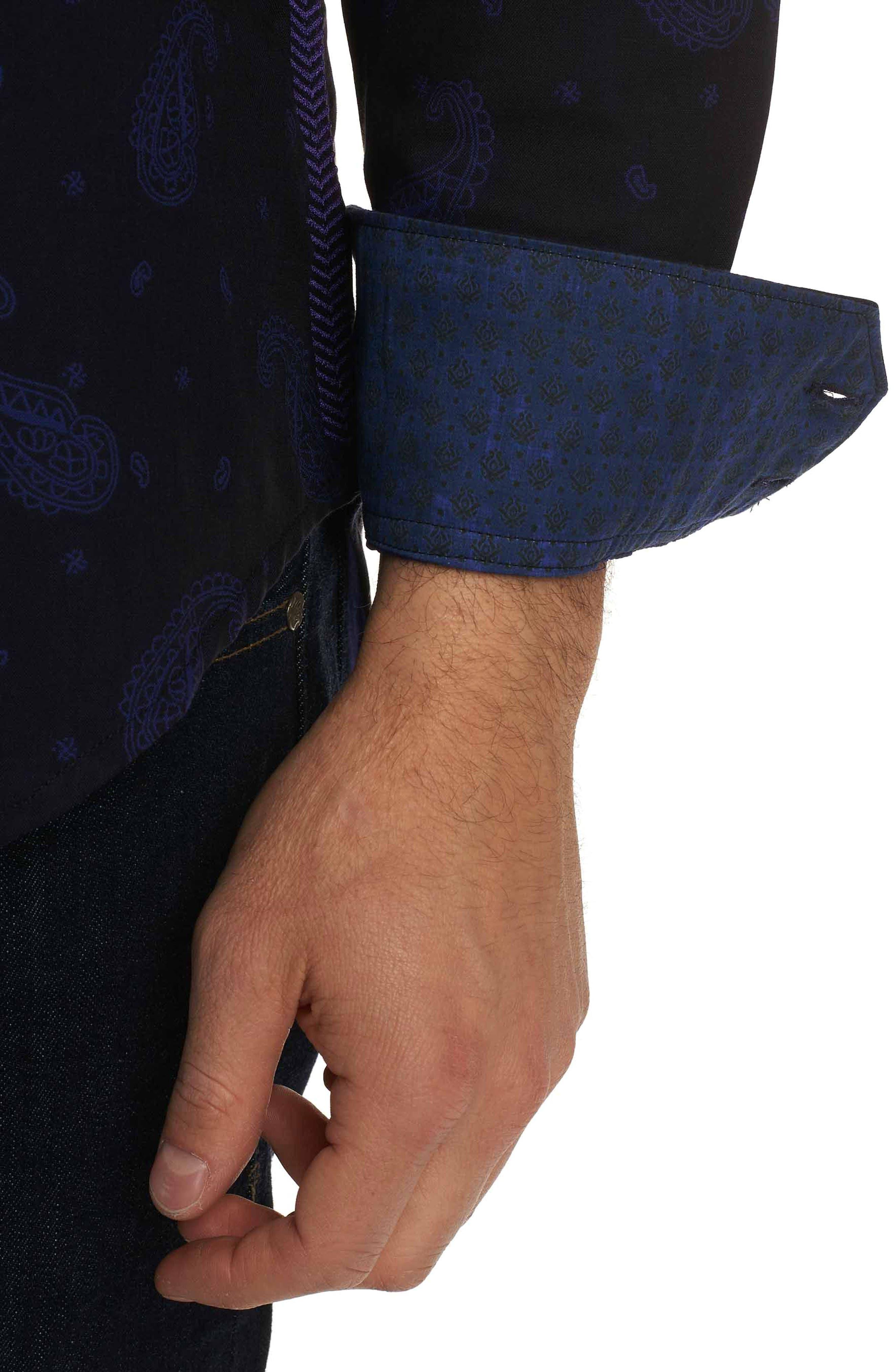 Scatter Paisley Classic Fit Sport Shirt,                             Alternate thumbnail 3, color,                             001