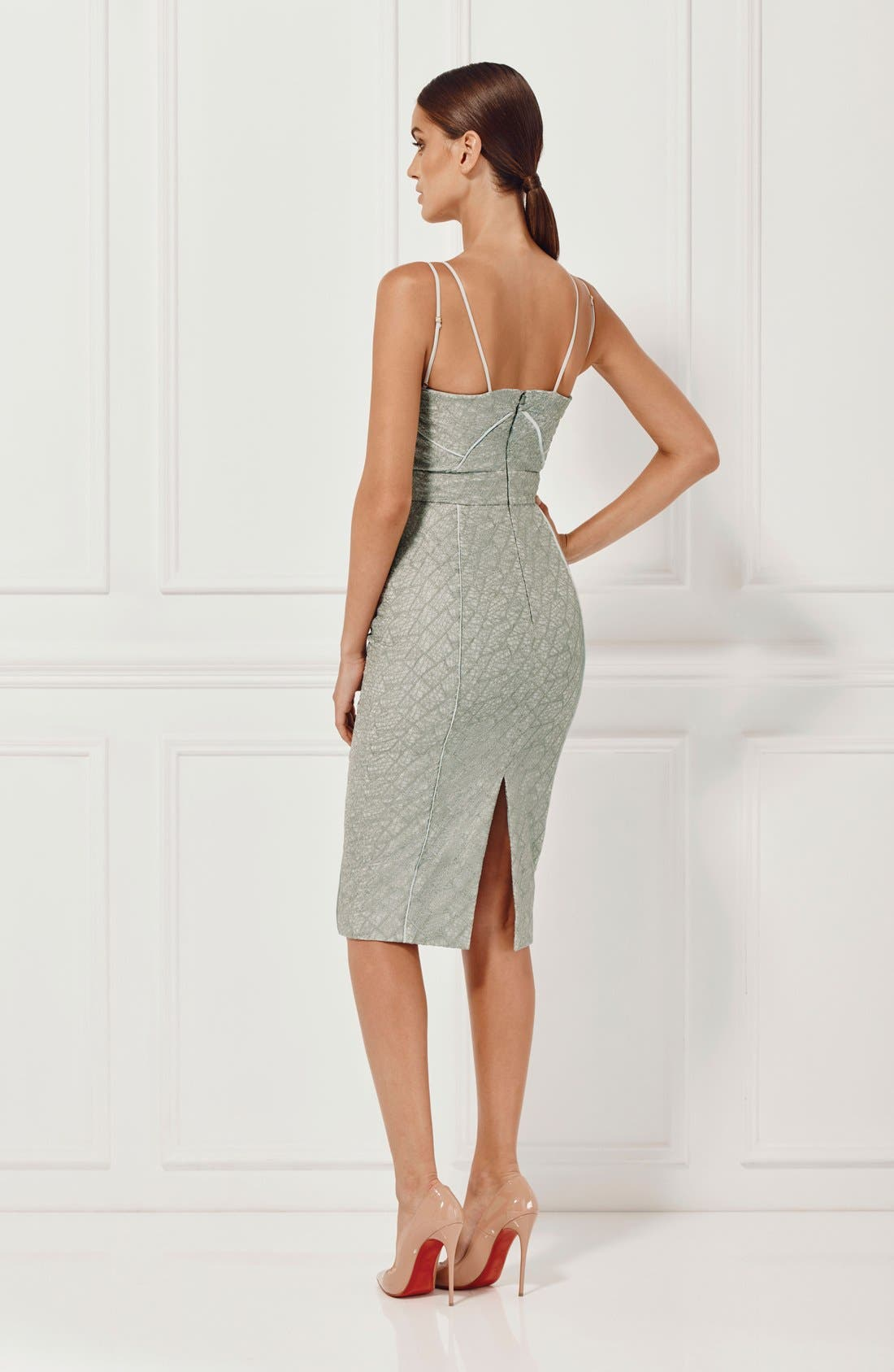 'Milly' Embroidered Mesh Midi Dress,                             Alternate thumbnail 3, color,                             230