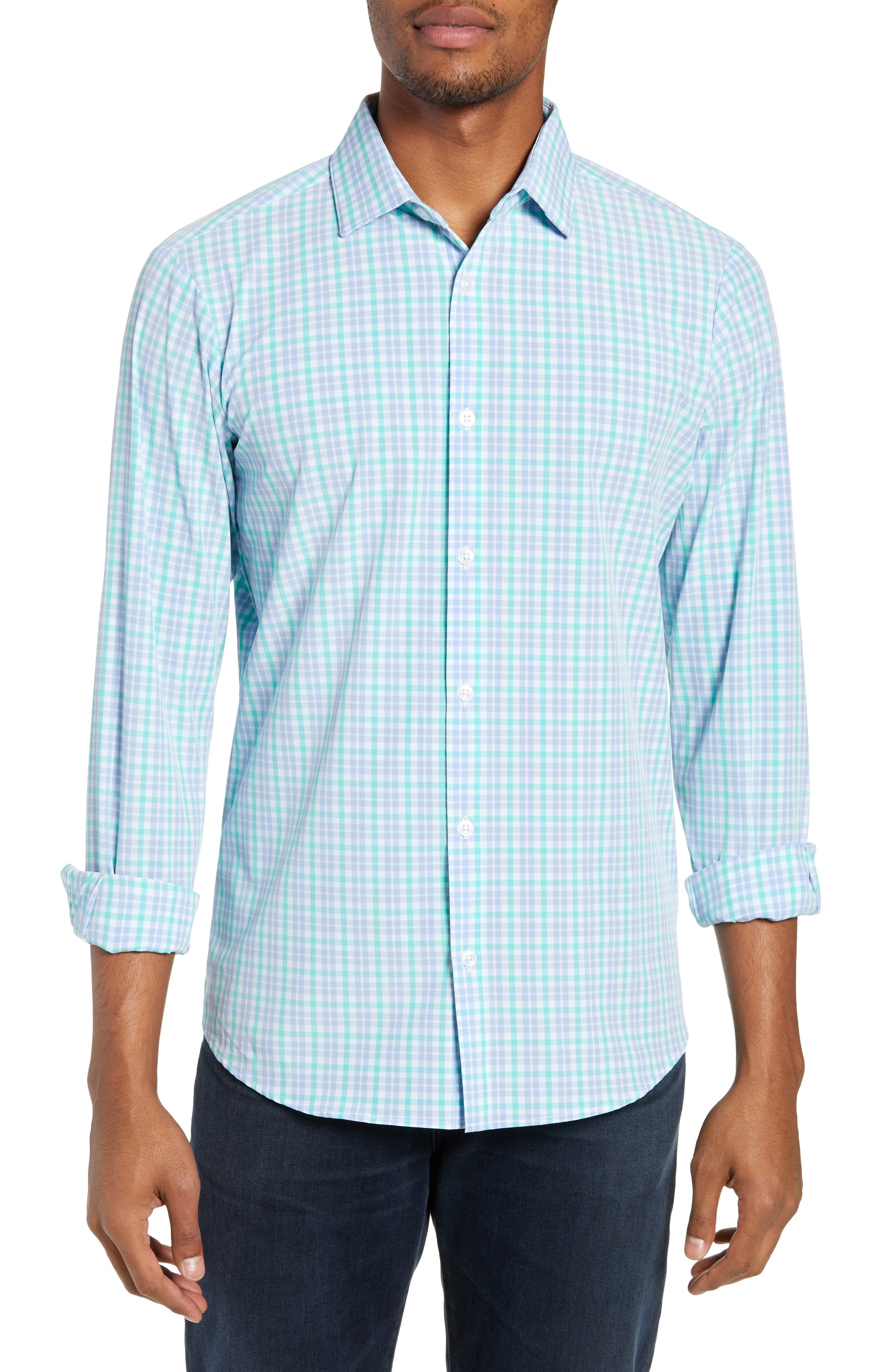 Knoll Regular Fit Plaid Performance Sport Shirt, Main, color, GREEN