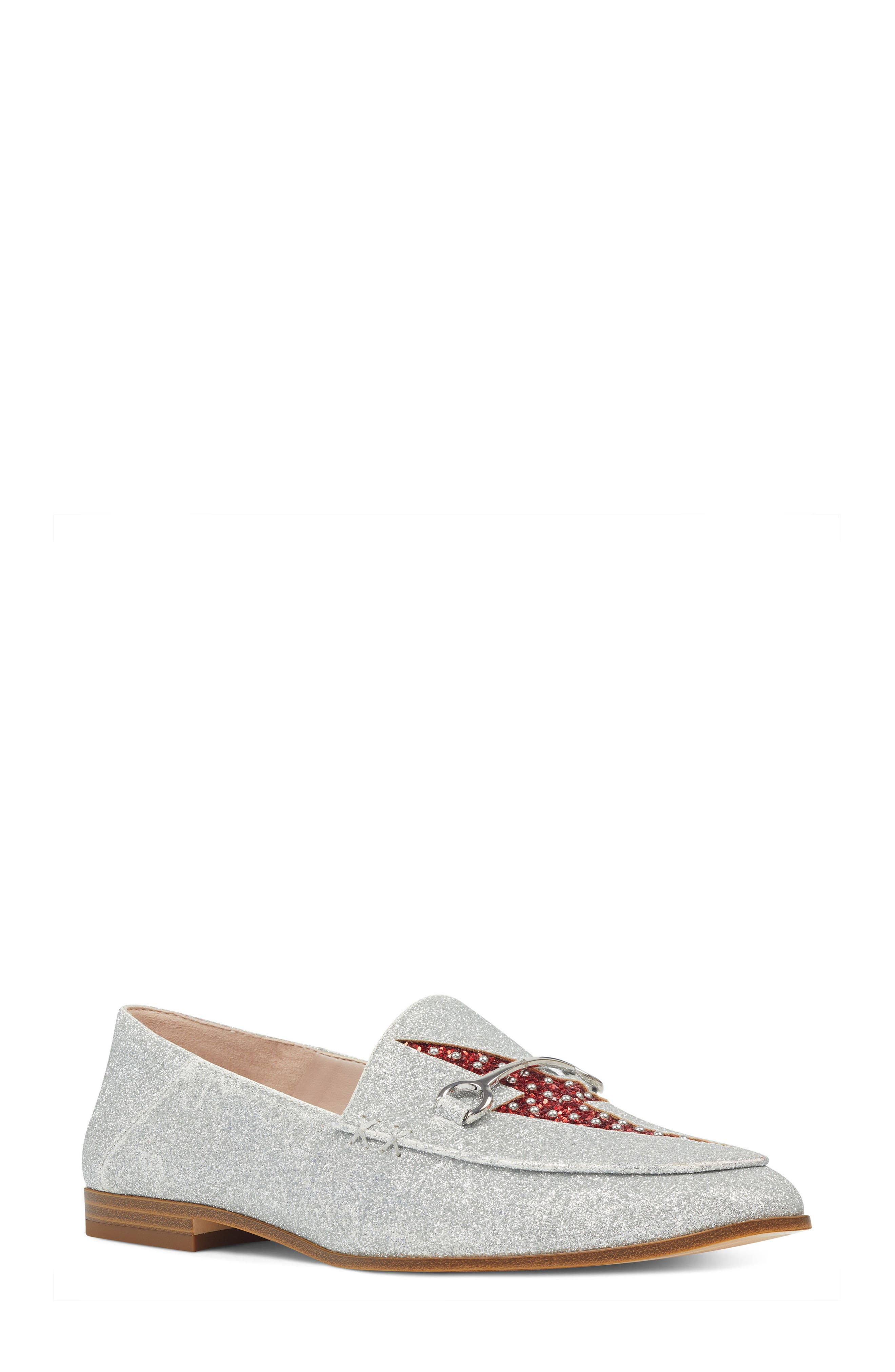 Wildgirls Embellished Loafer,                             Main thumbnail 1, color,                             SILVER/ RED FABRIC